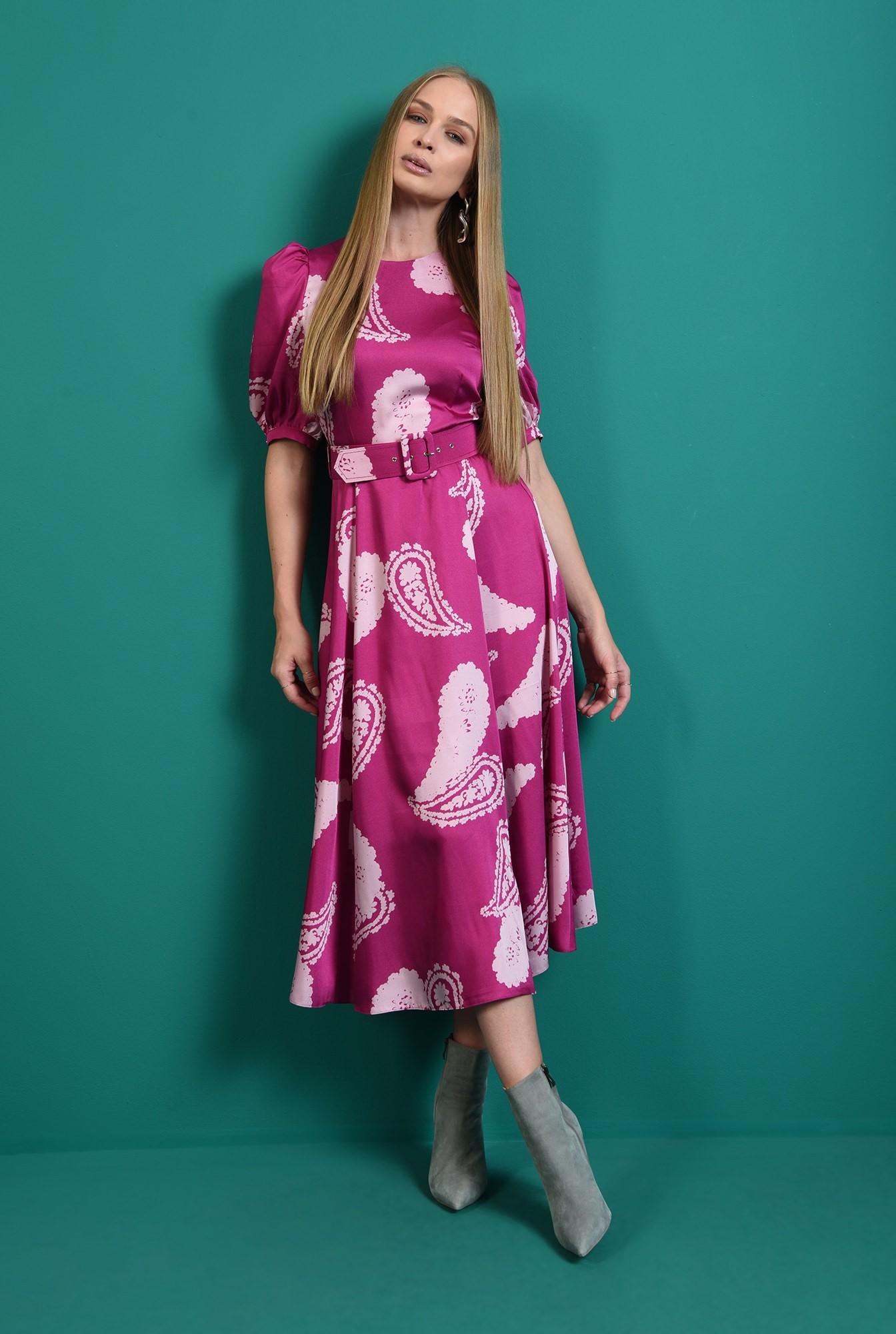 1 - rochie casual, cu centuta, cu maneca voluminoasa