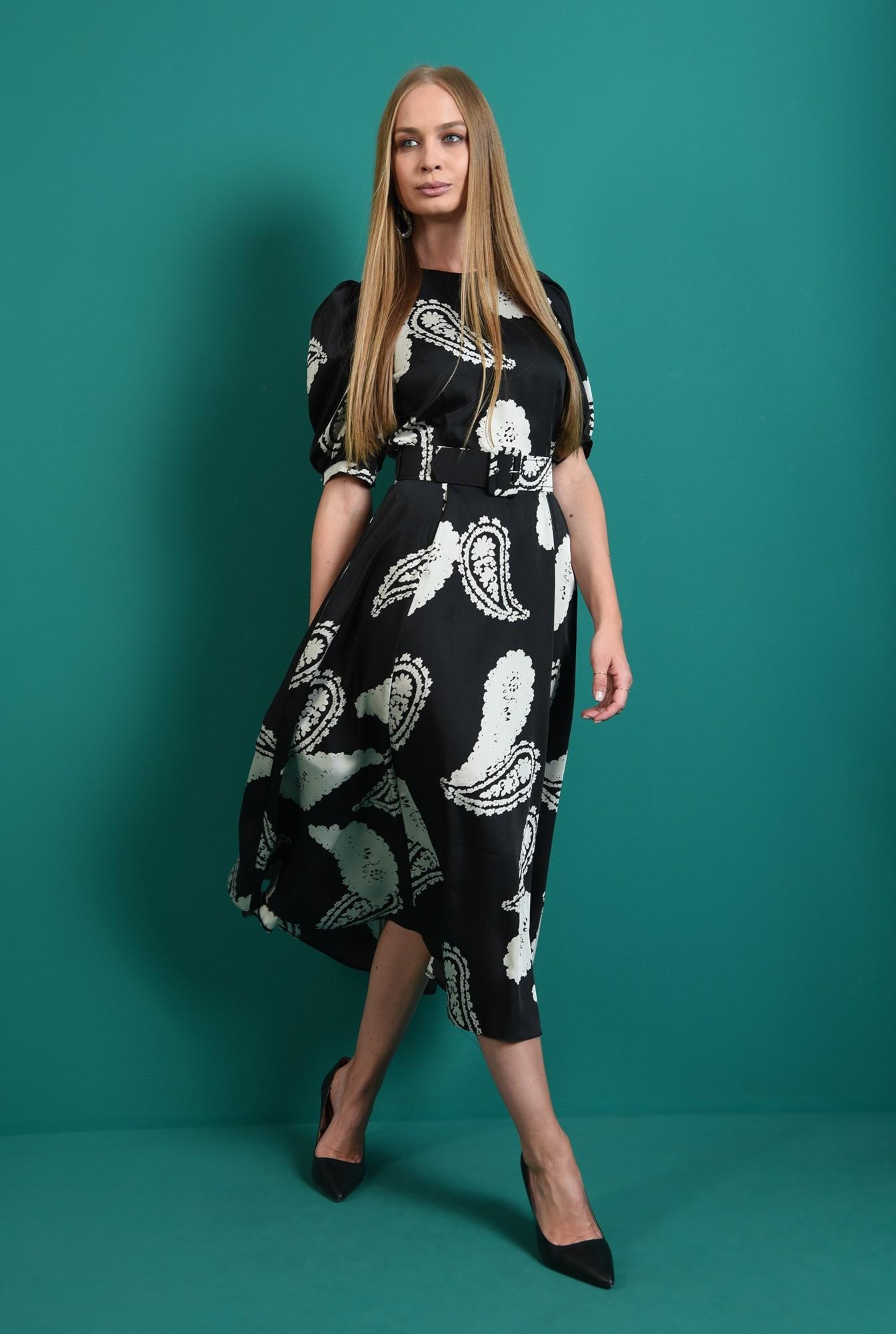 1 - rochie casual, neagra, cu imprimeu