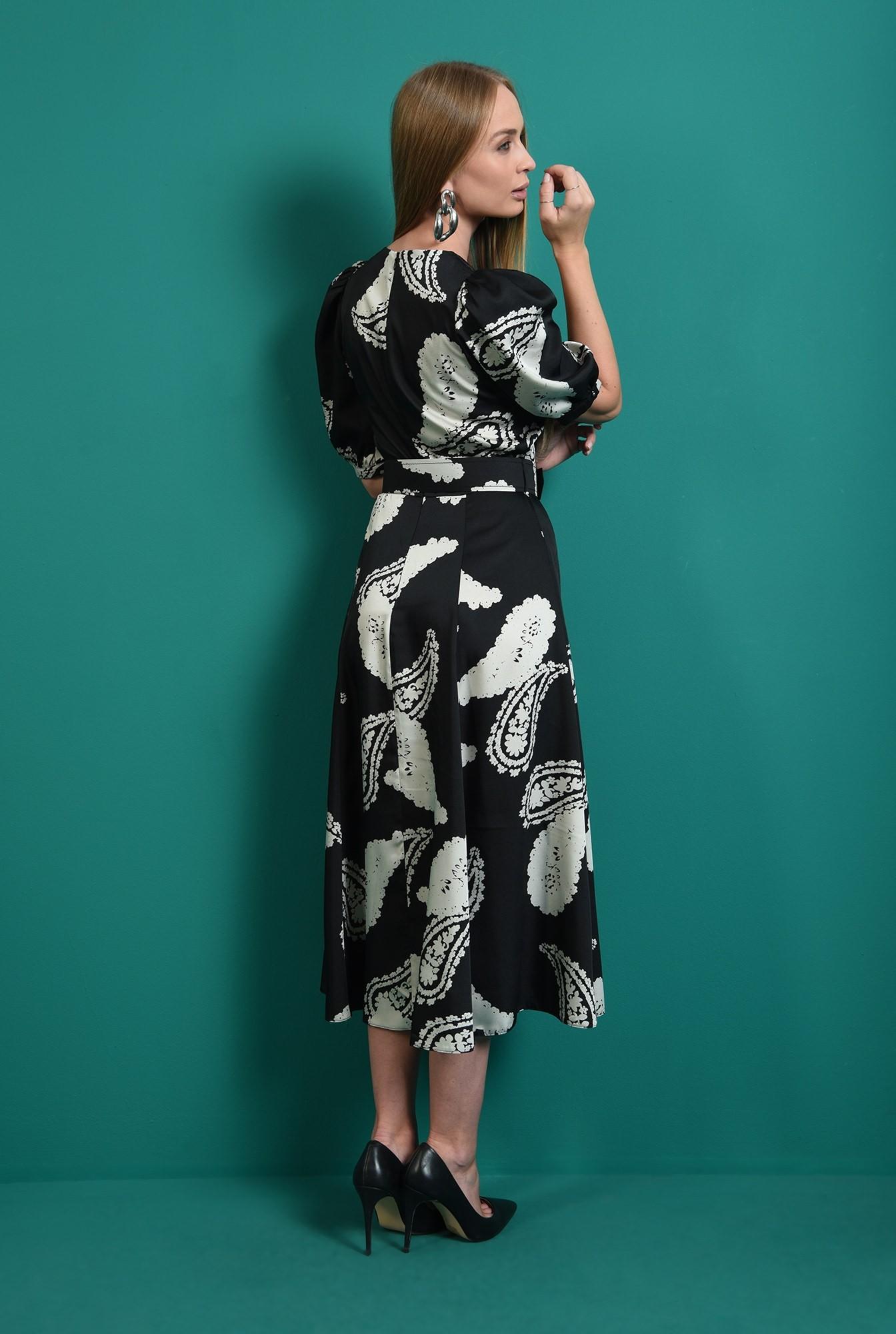 2 - rochie casual, neagra, cu imprimeu