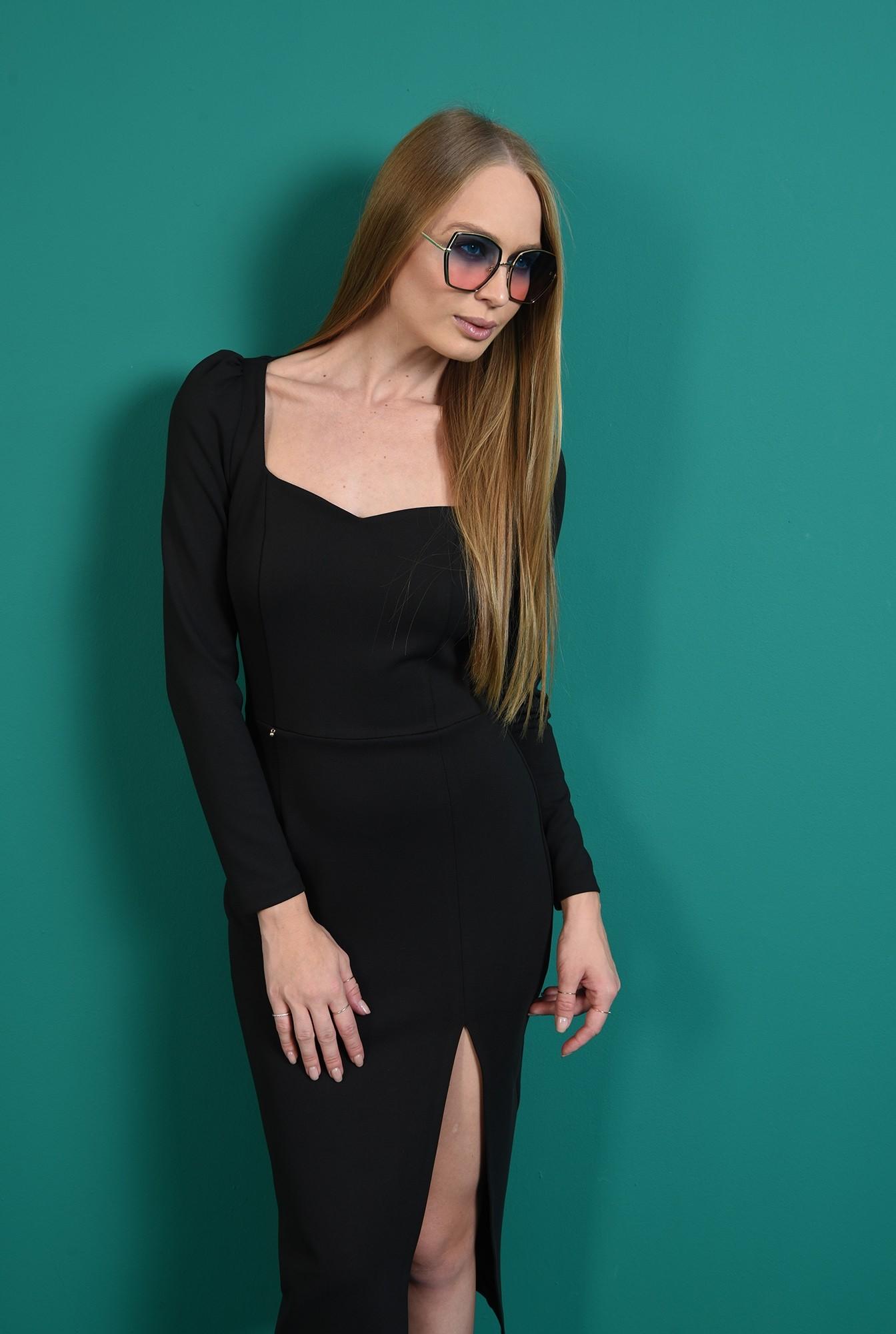 1 - rochie conica, neagra, cu slit