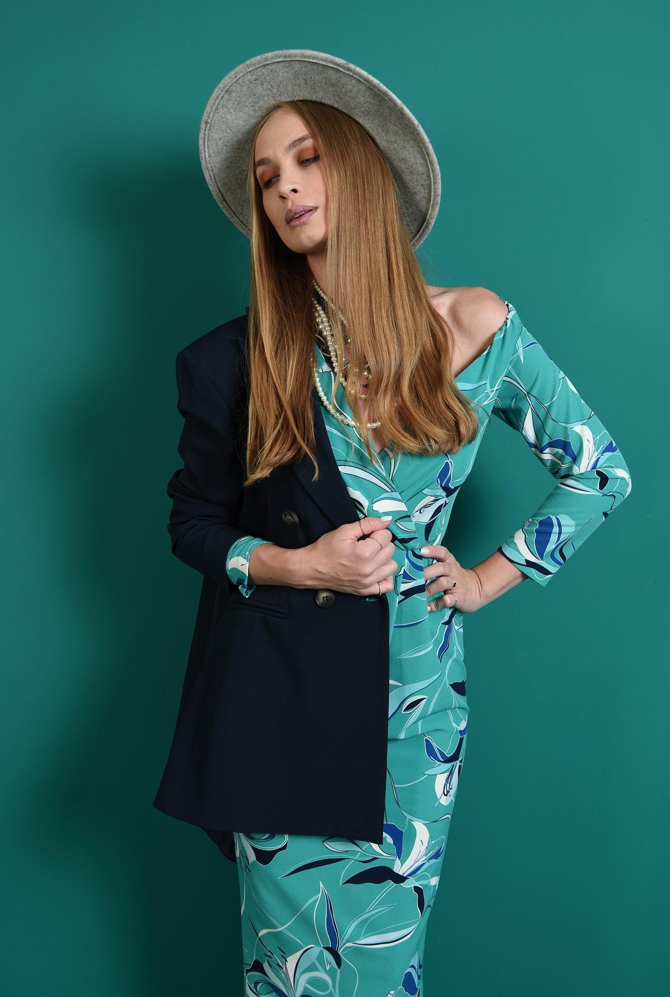 2 - rochie eleganta, turcoaz, cu pliuri