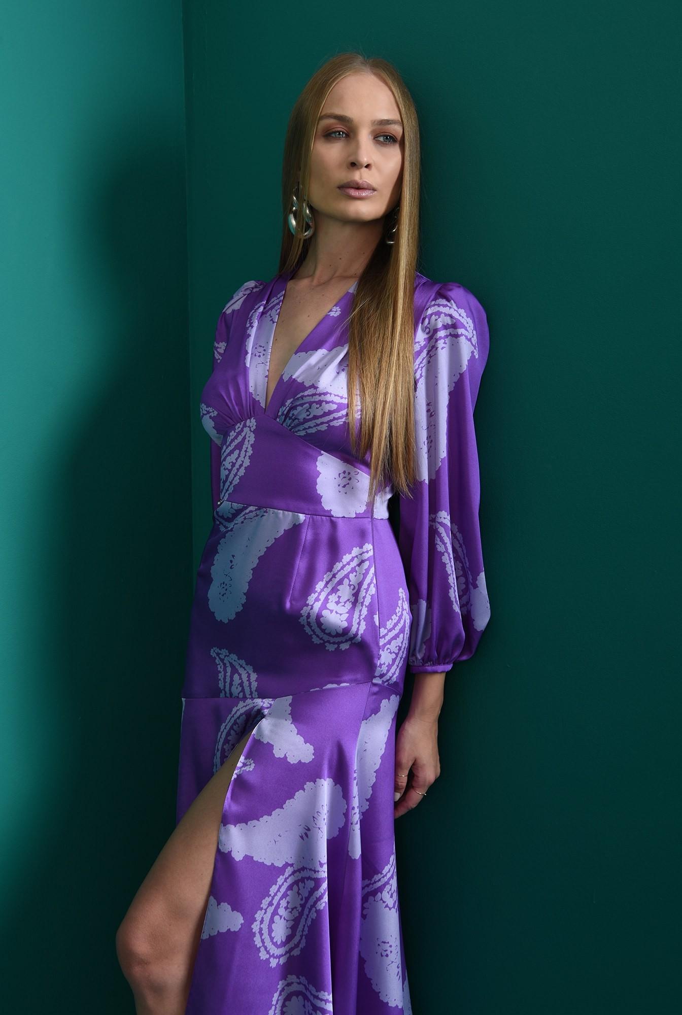 1 - rochie cu imprimeu, mov, eleganta