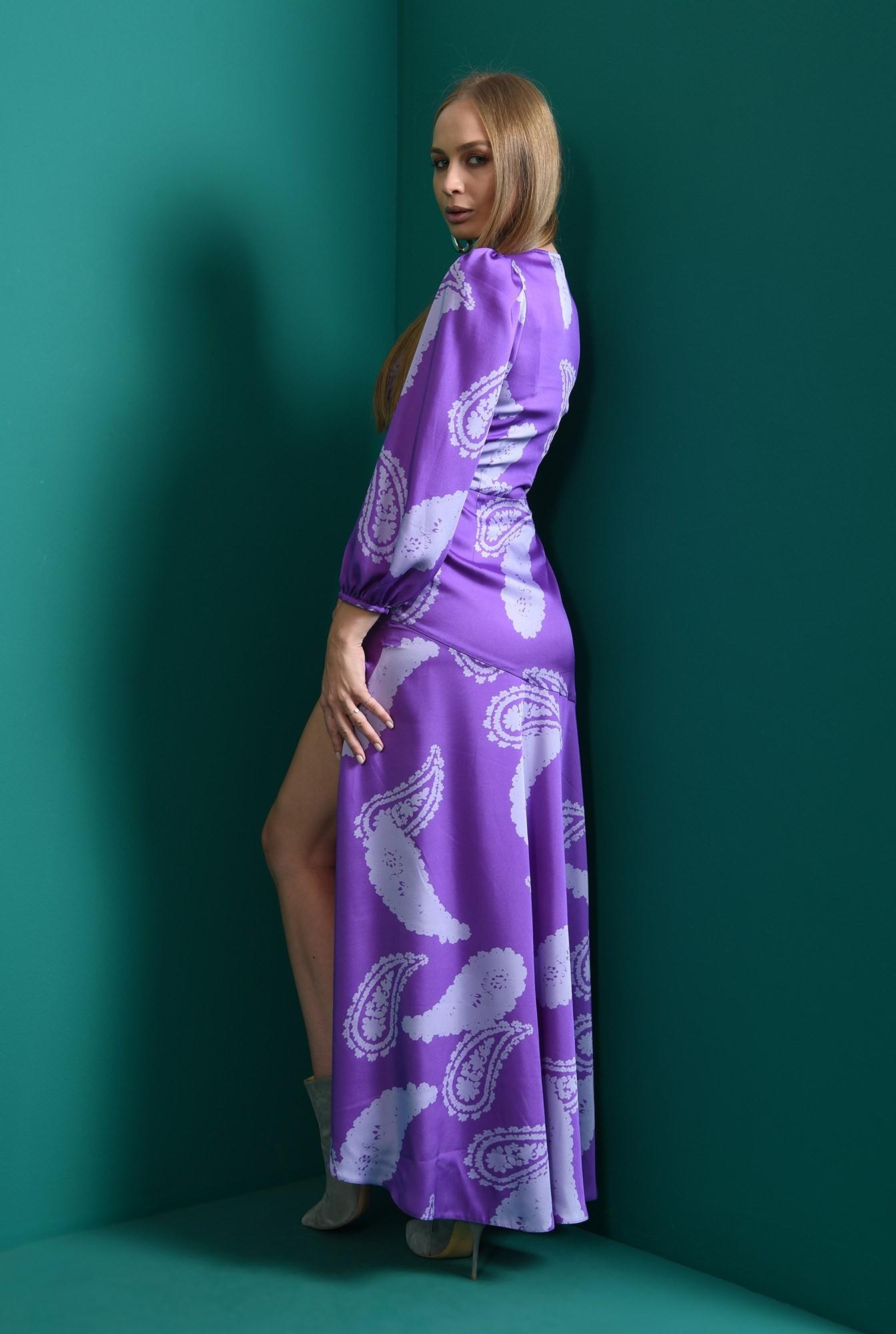 2 - rochie cu imprimeu, mov, eleganta