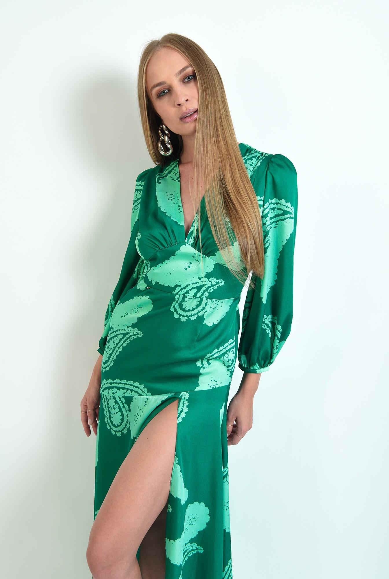 1 - rochie verde, eleganta, cu print