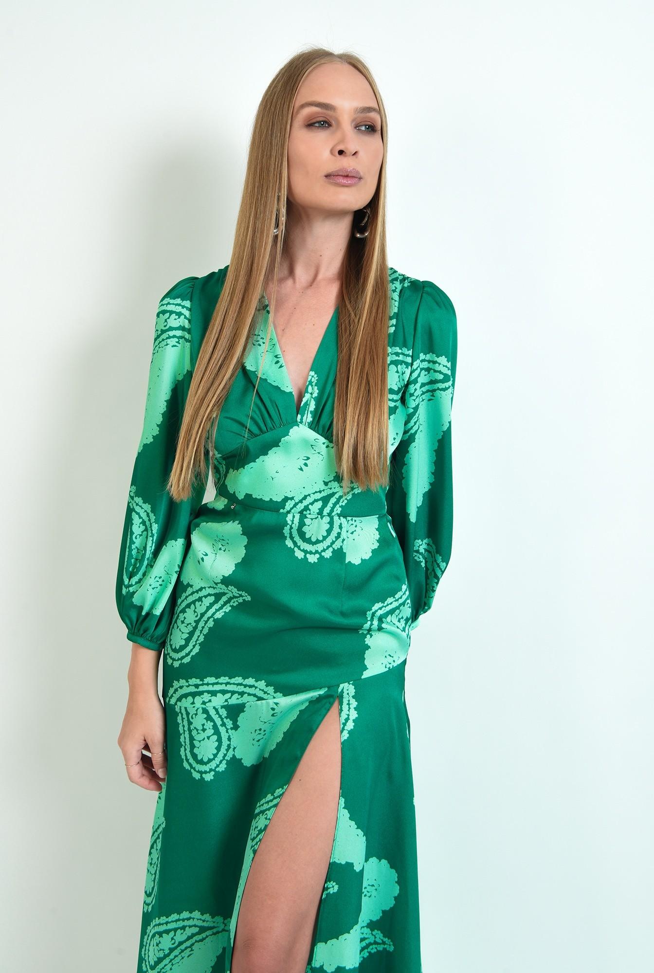 2 - rochie verde, eleganta, cu print