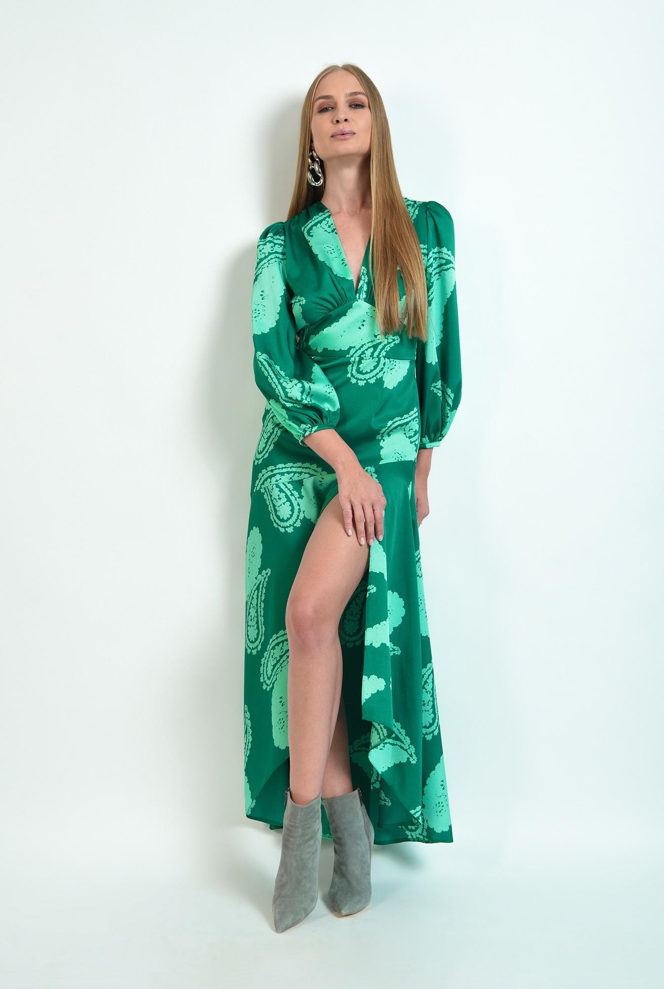 0 - rochie verde, eleganta, cu print