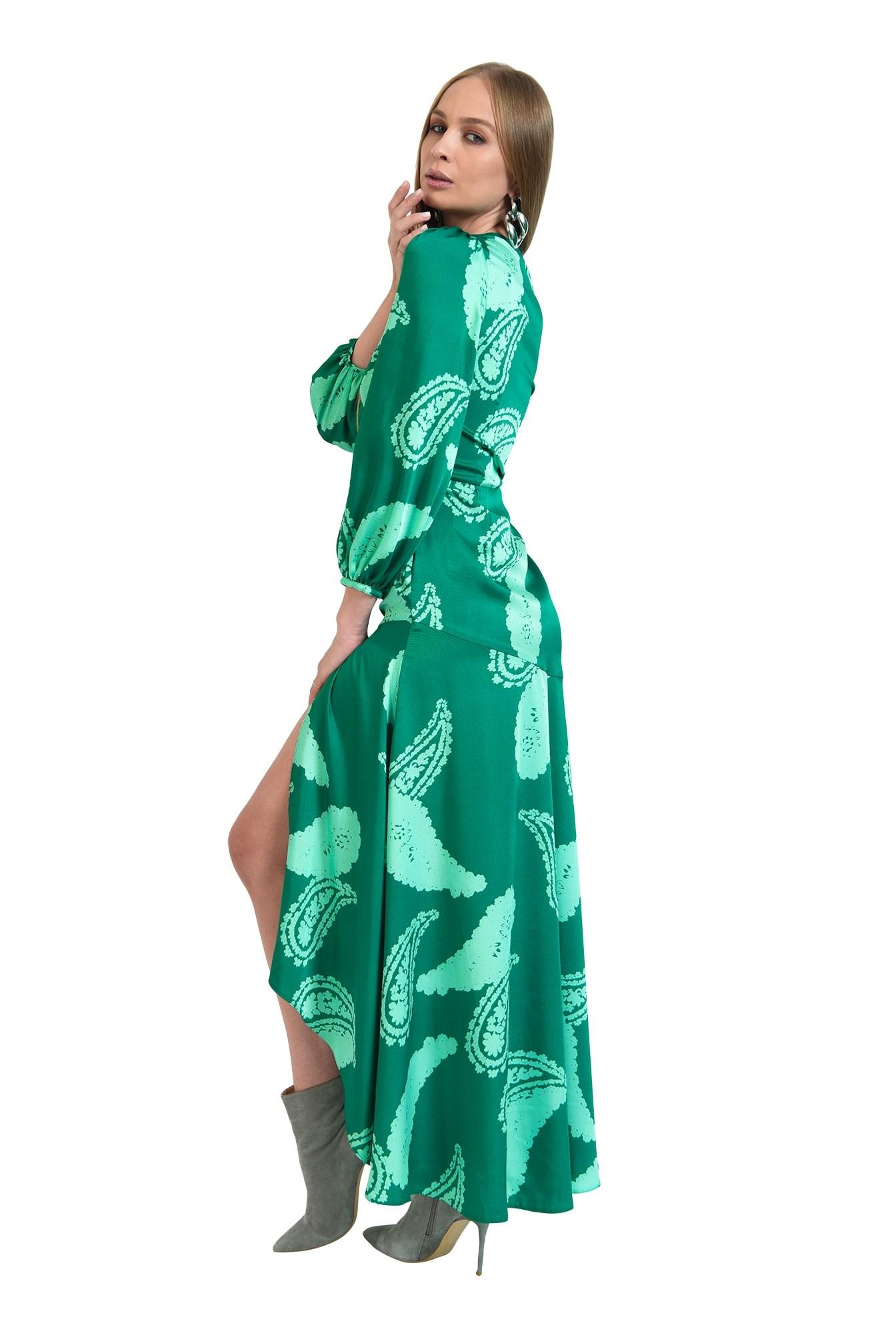 3 - rochie verde, eleganta, cu print