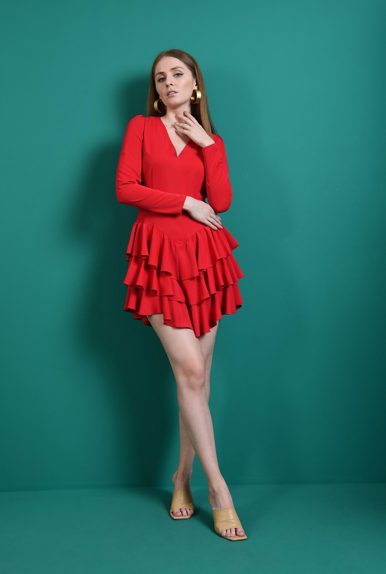 0 - rochie casual, rosie, cu volane