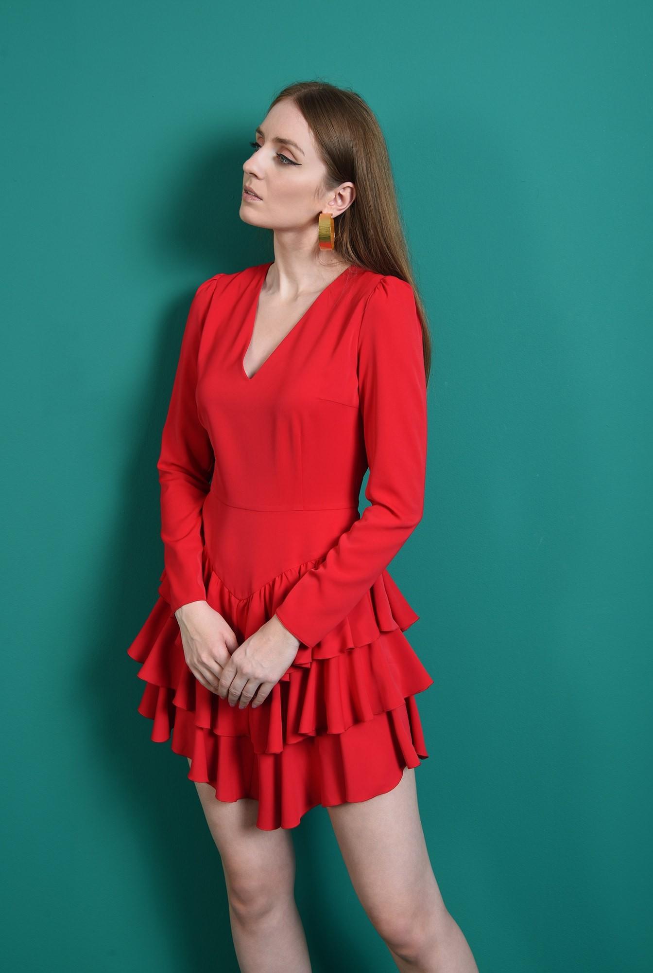 2 - rochie casual, rosie, cu volane