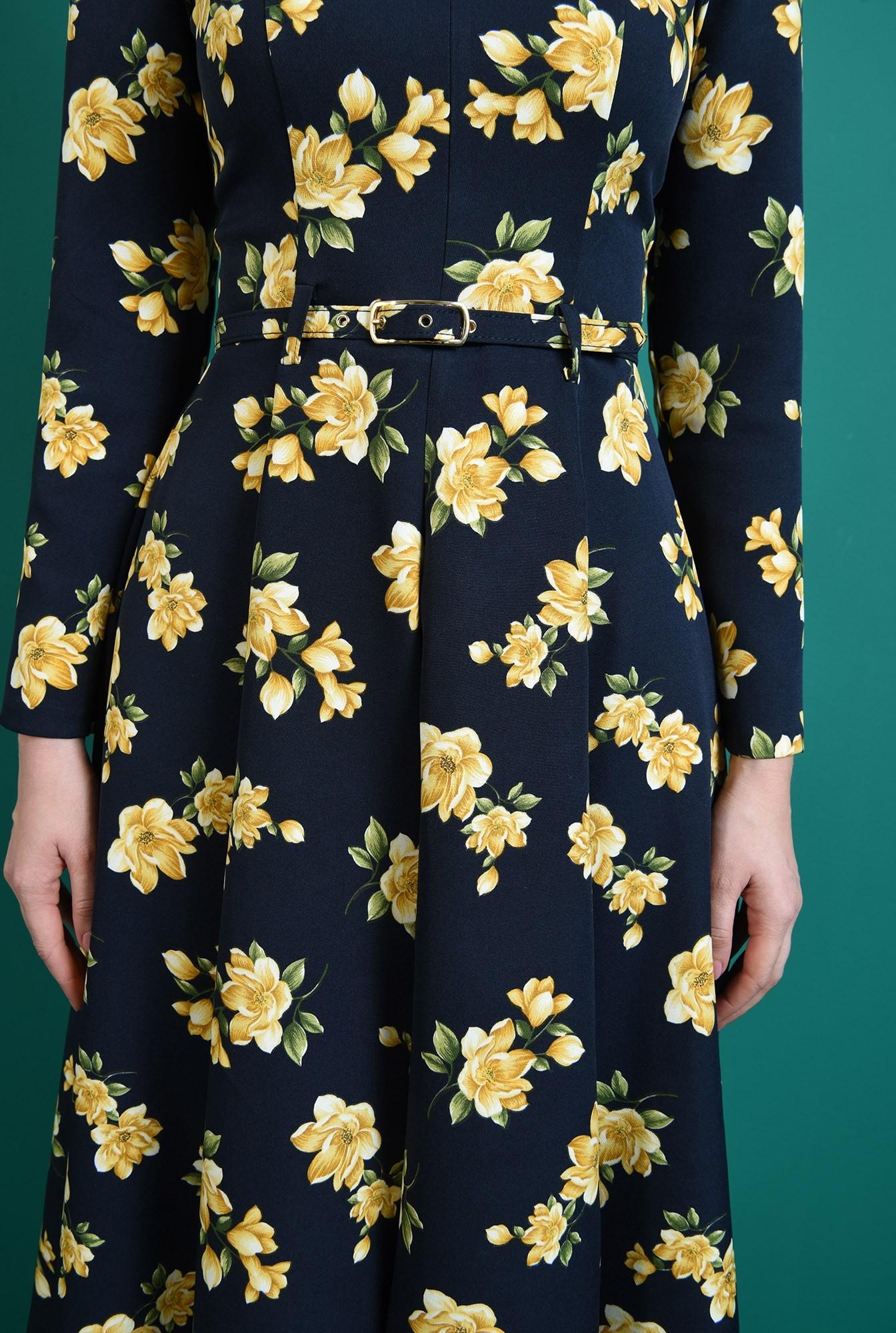 2 - rochie bleumarin, evazata, cu mptive florale