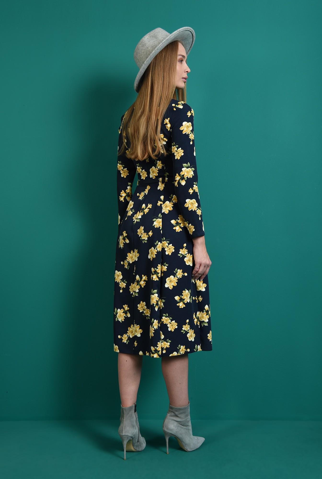 1 - rochie bleumarin, evazata, cu mptive florale