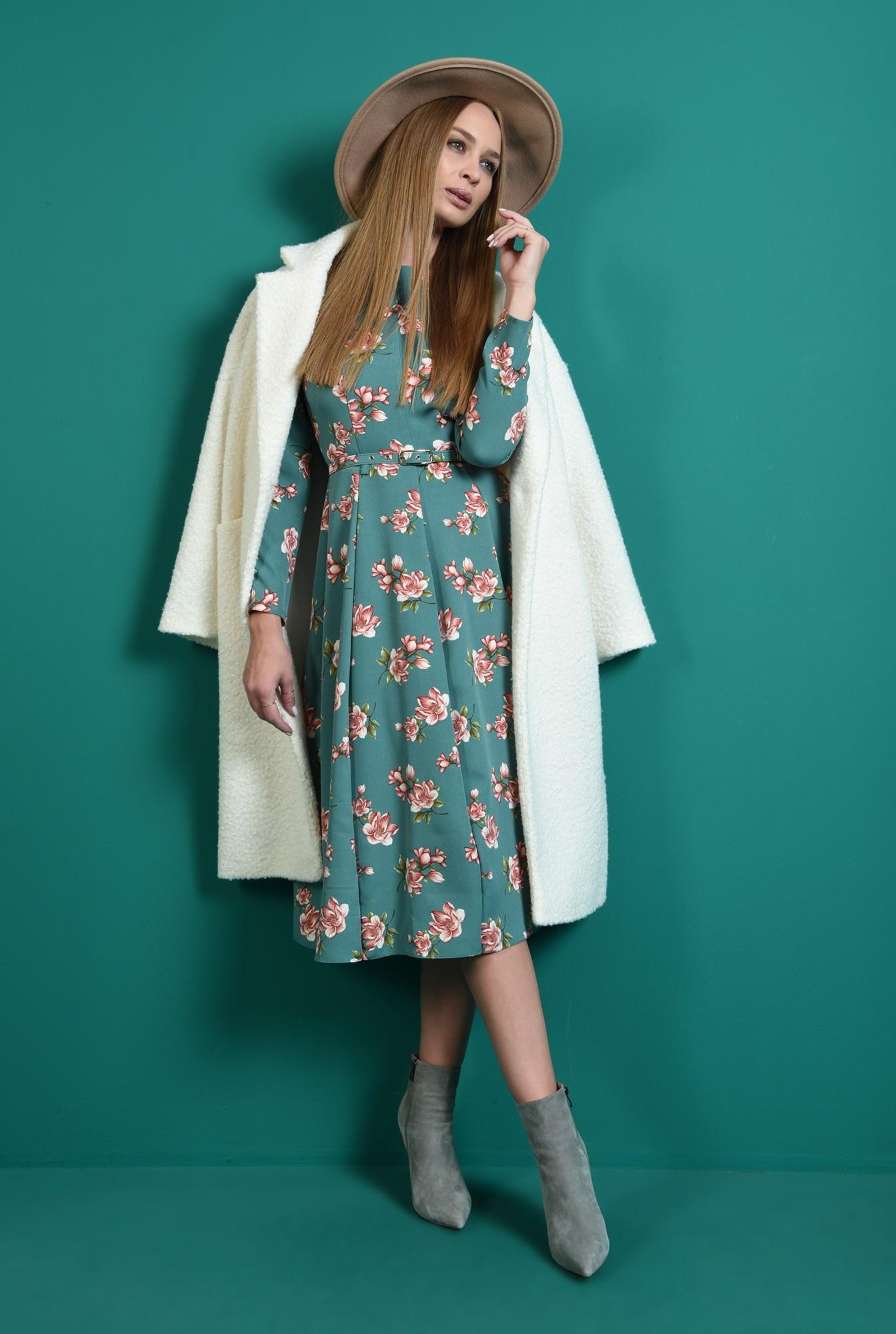 1 - rochie cu imprimeu floral, cu maneca lunga, cu flori