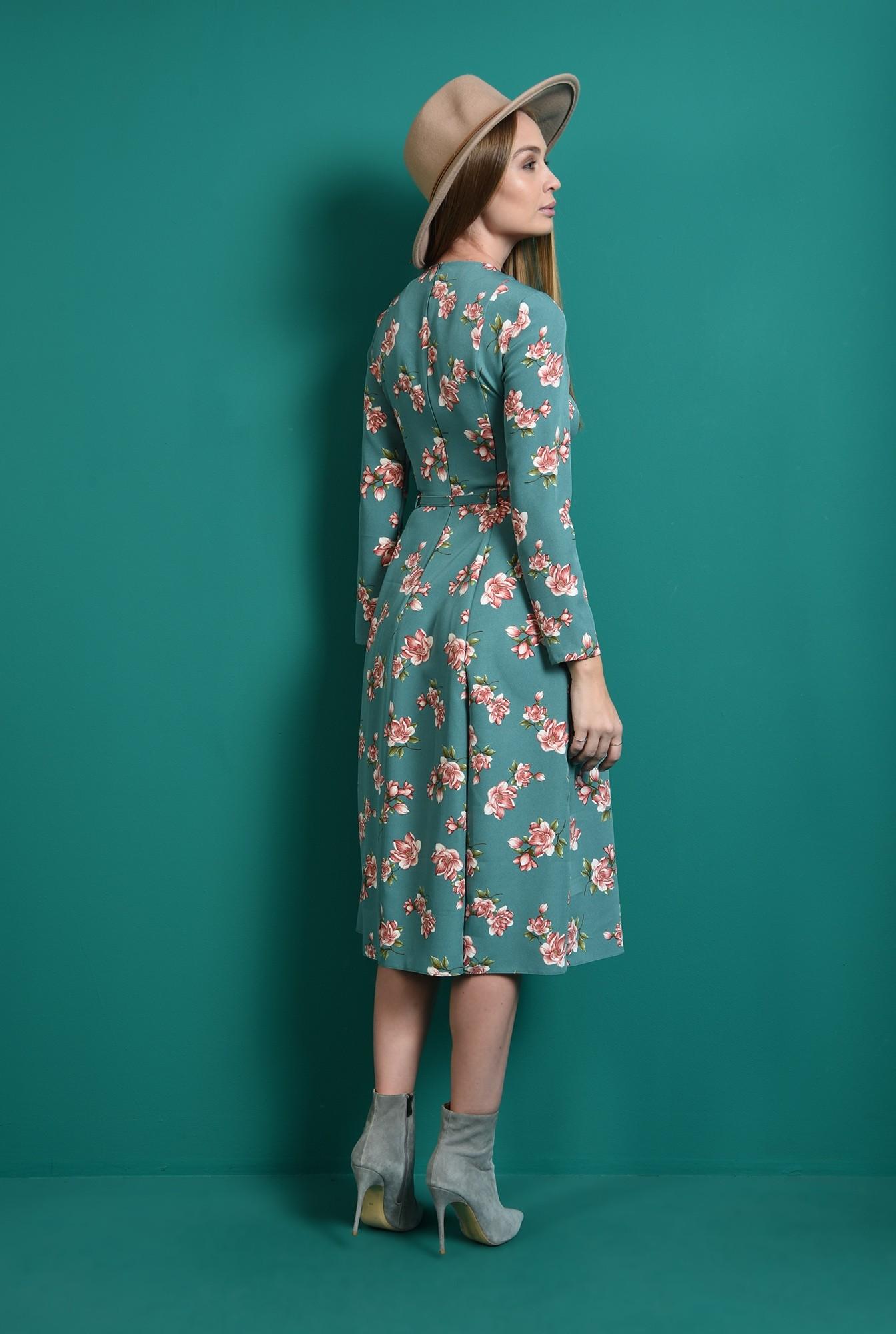 2 - rochie cu imprimeu floral, cu maneca lunga, cu flori
