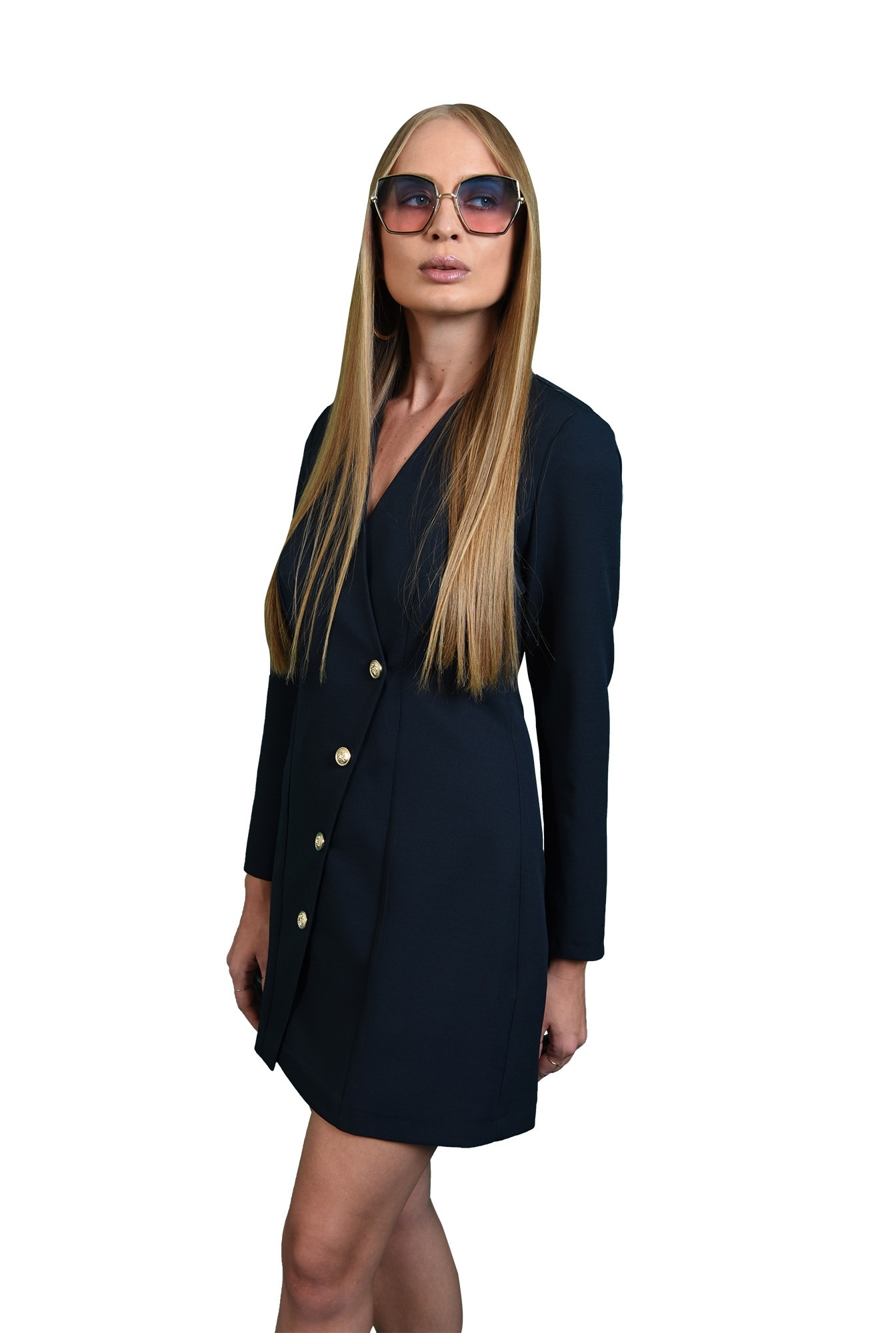 3 - rochie casual, bleumarin, tip sacou