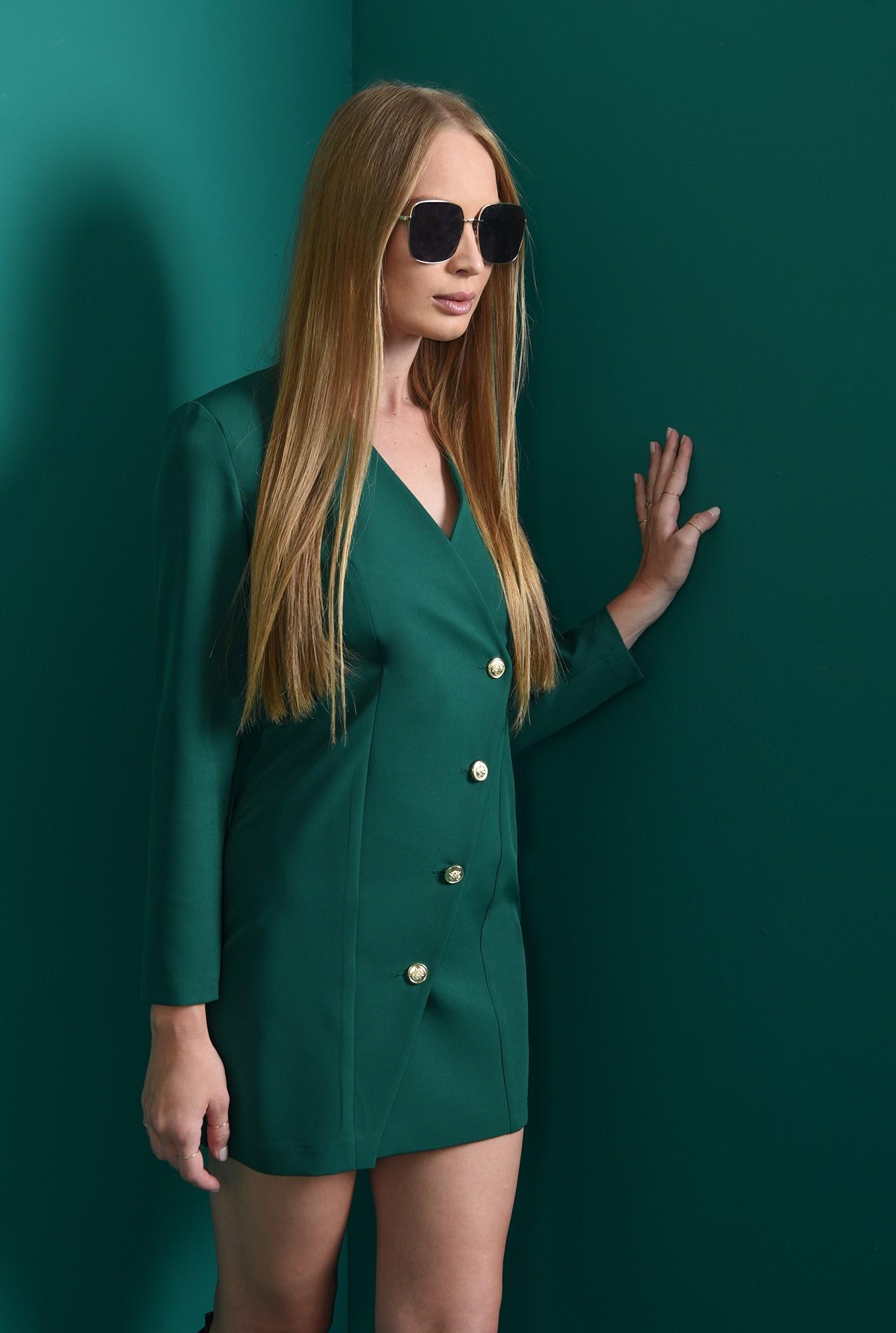 1 - rochie mini, verde, dreapta, cu nasturi
