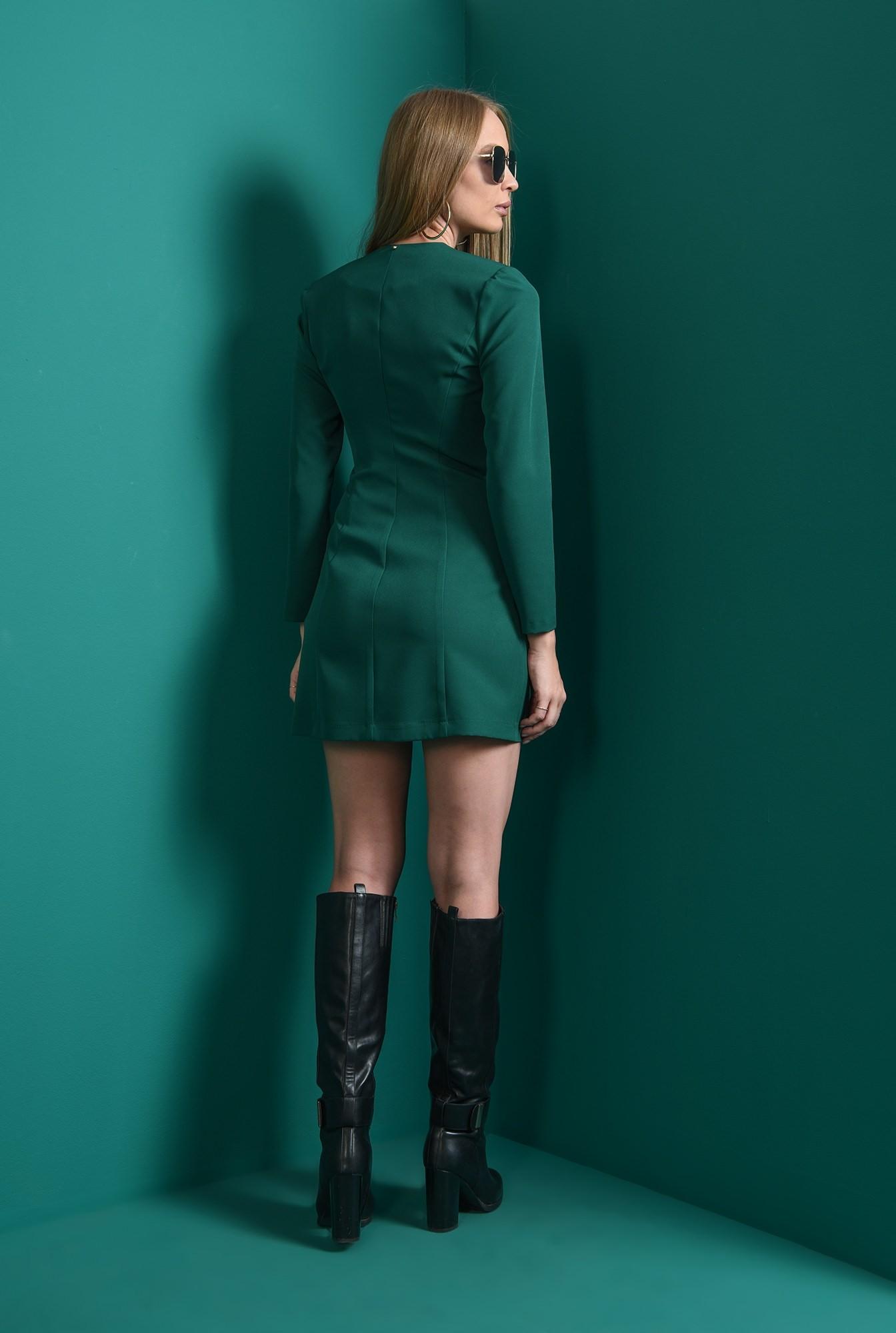 2 - rochie mini, verde, dreapta, cu nasturi
