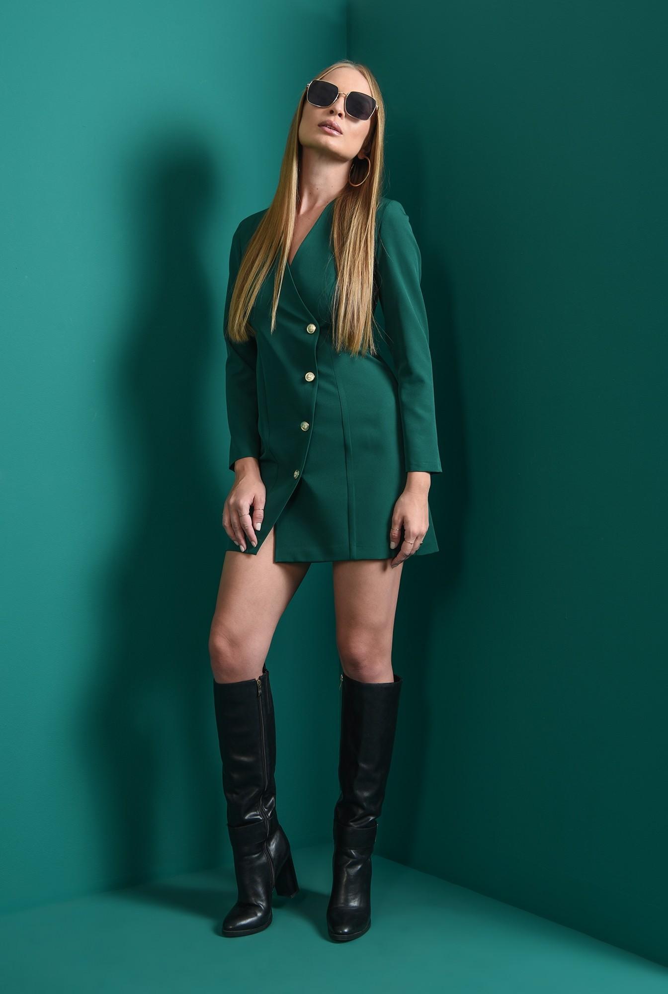 0 - rochie mini, verde, dreapta, cu nasturi