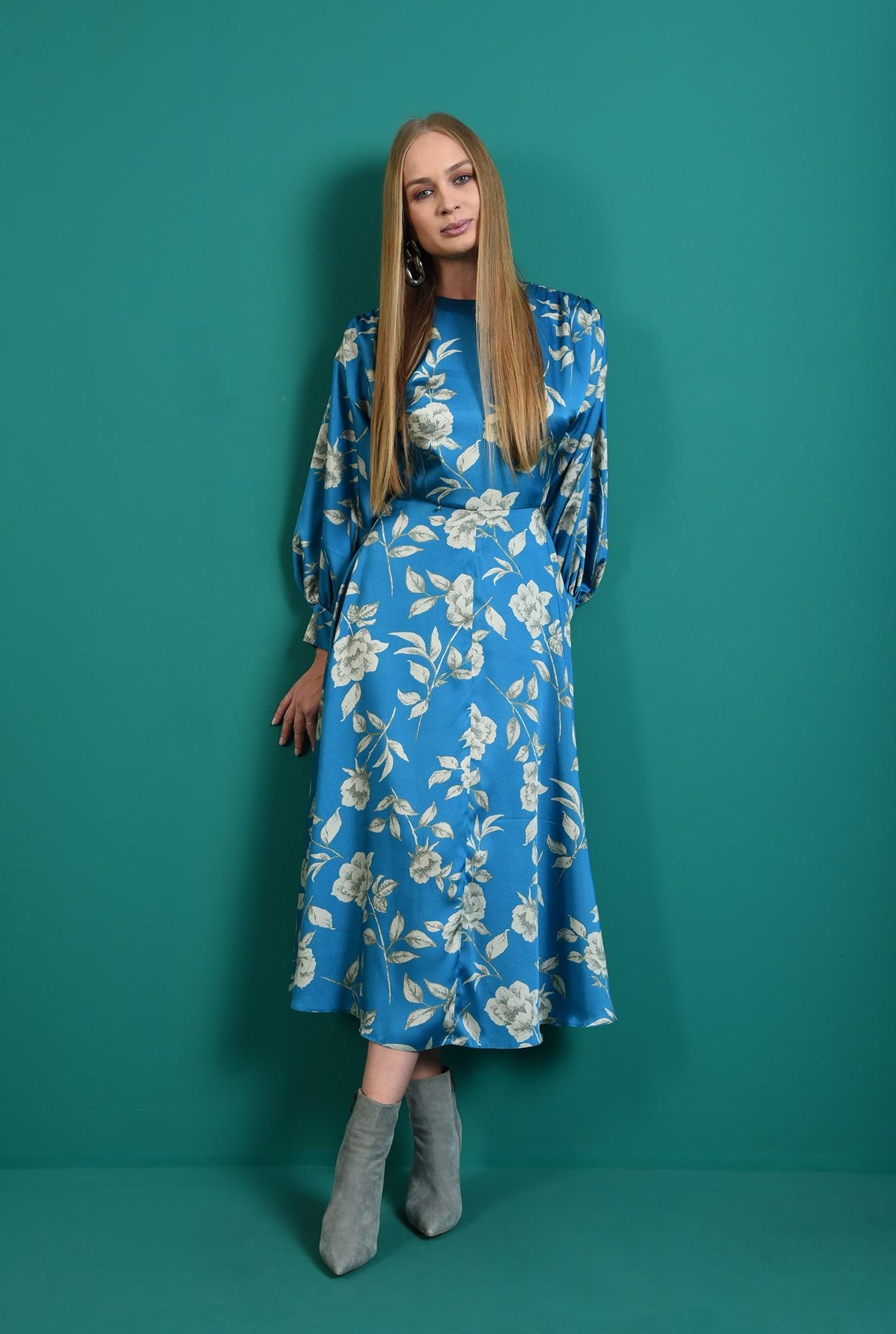 0 - rochie cu imprimeu floral, cu umarii cazuti, cu maneca voluminoasa