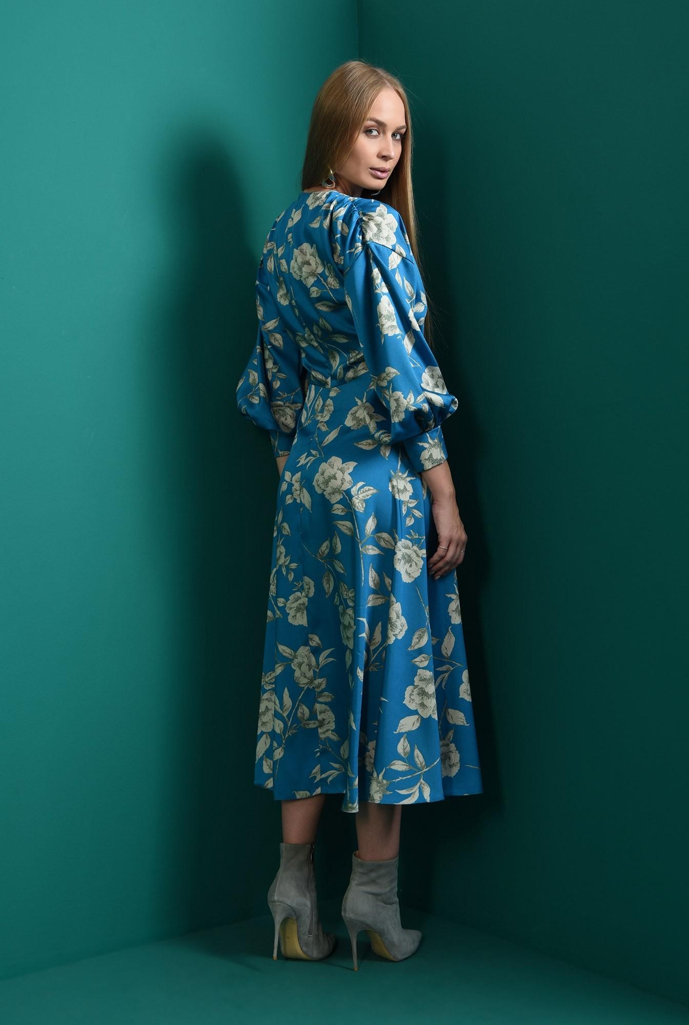 2 - rochie cu imprimeu floral, cu umarii cazuti, cu maneca voluminoasa