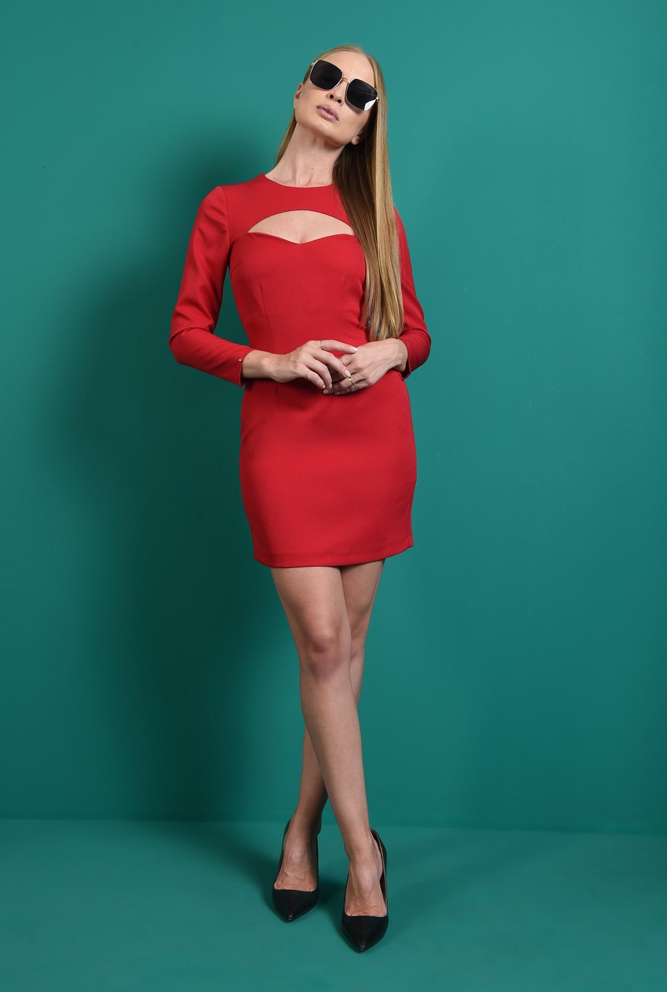 0 - rochie casual, scurta, rosie, cu maneca lunga