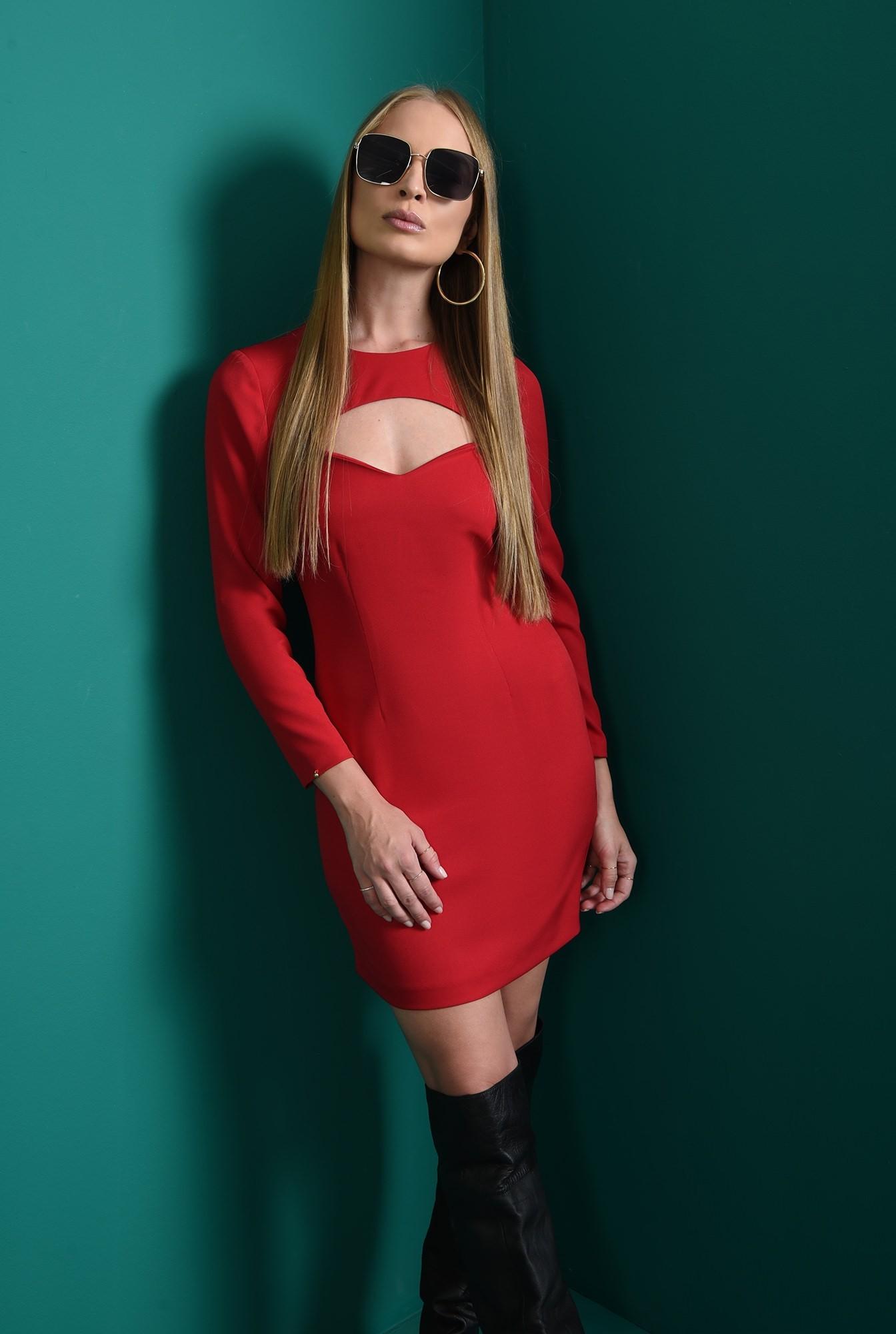 1 - rochie casual, scurta, rosie, cu maneca lunga