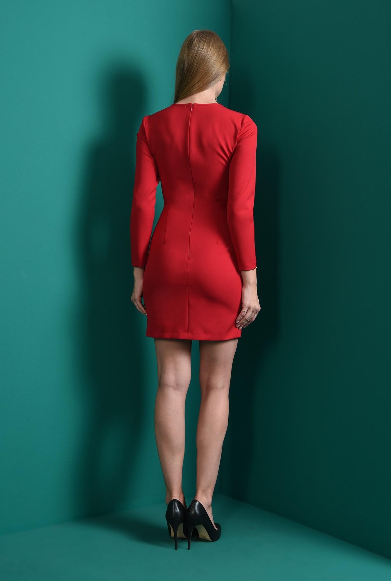 2 - rochie casual, scurta, rosie, cu maneca lunga
