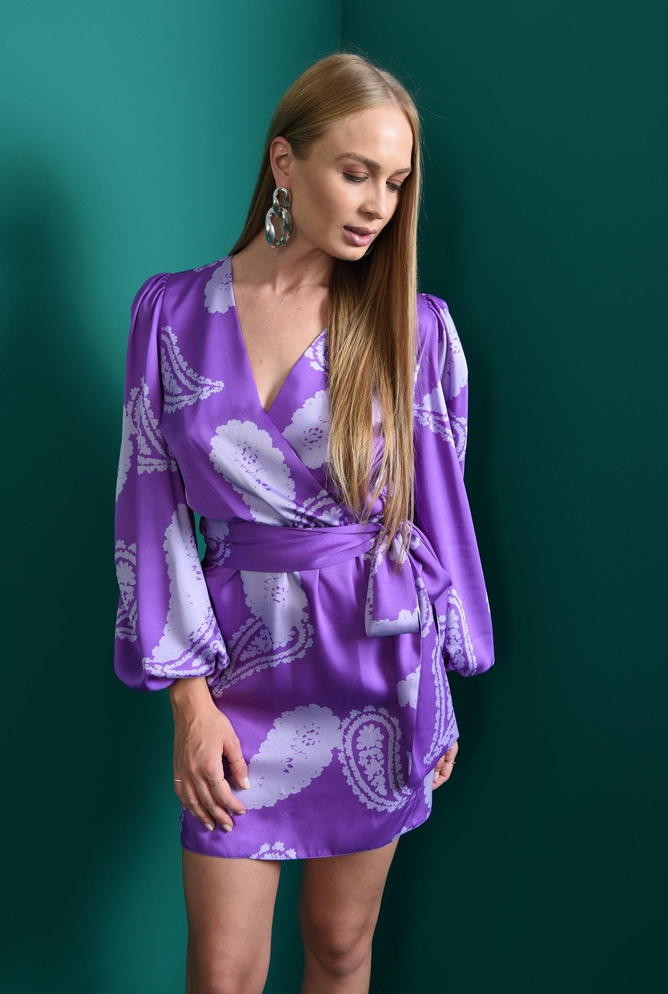 2 - rochie mini, cu print, cu maneca voluminoasa