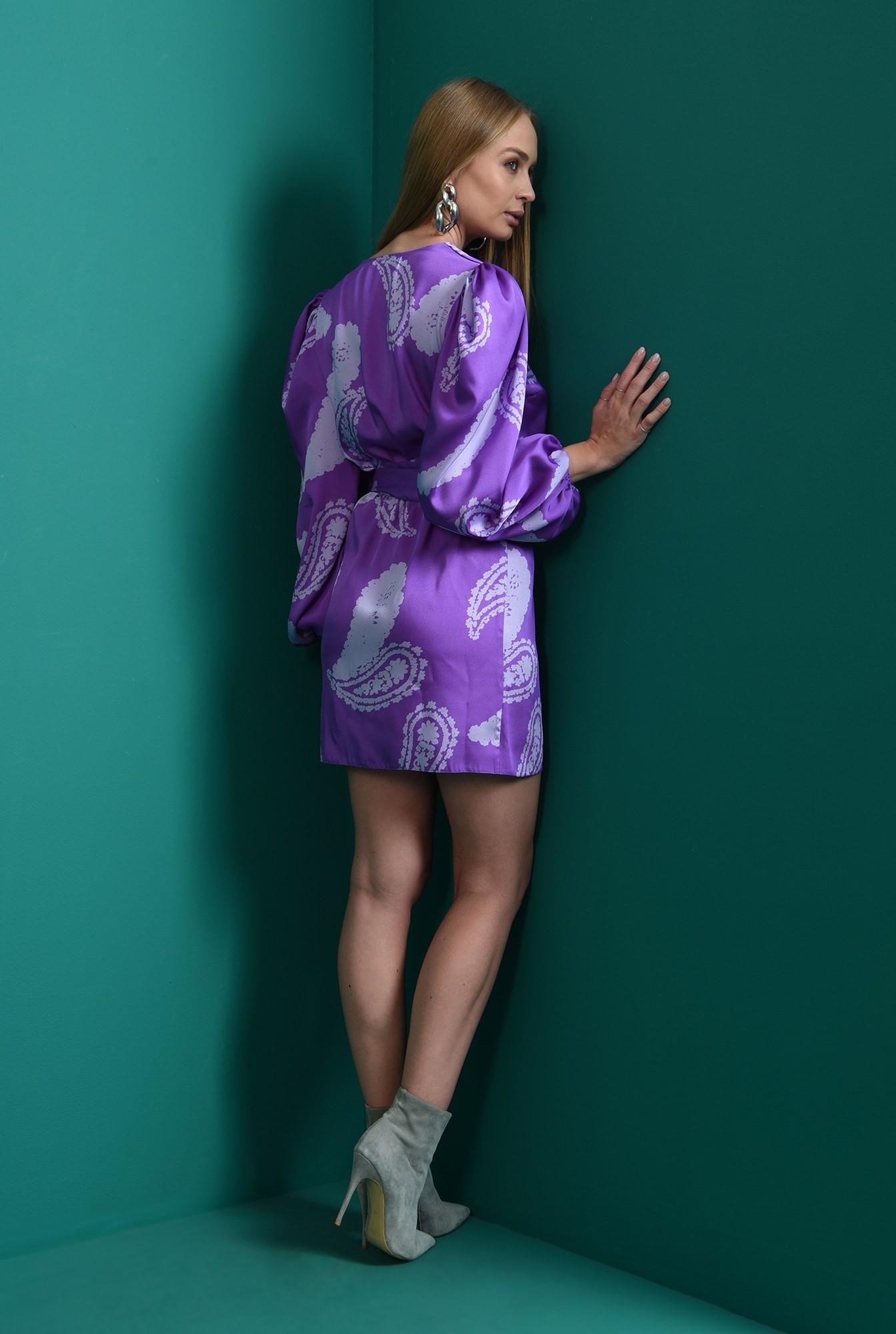 1 - rochie mini, cu print, cu maneca voluminoasa