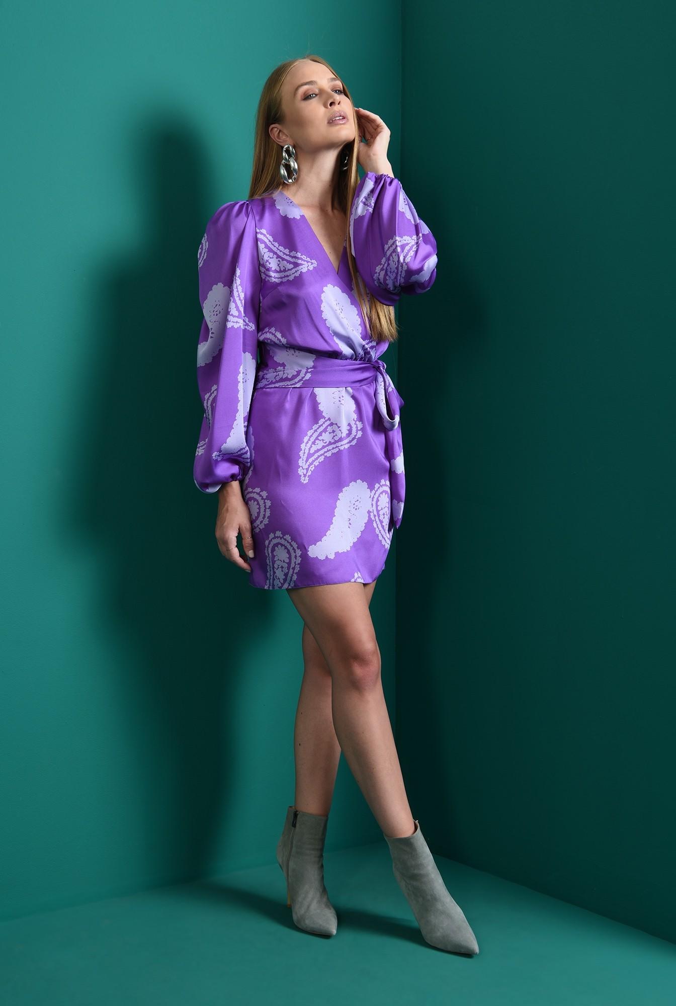 0 - rochie mini, cu print, cu maneca voluminoasa