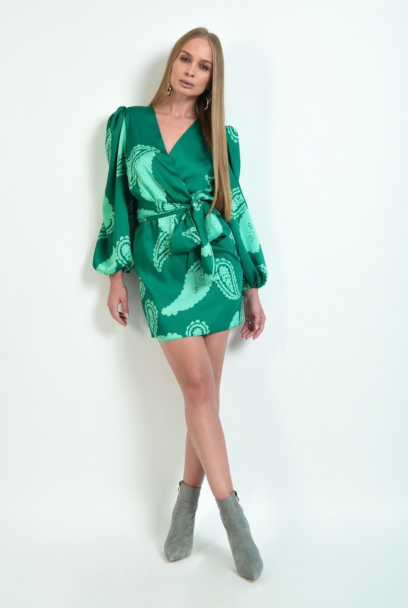 2 - rochie cu print, scurta, cu cordon, cu maneca lunga