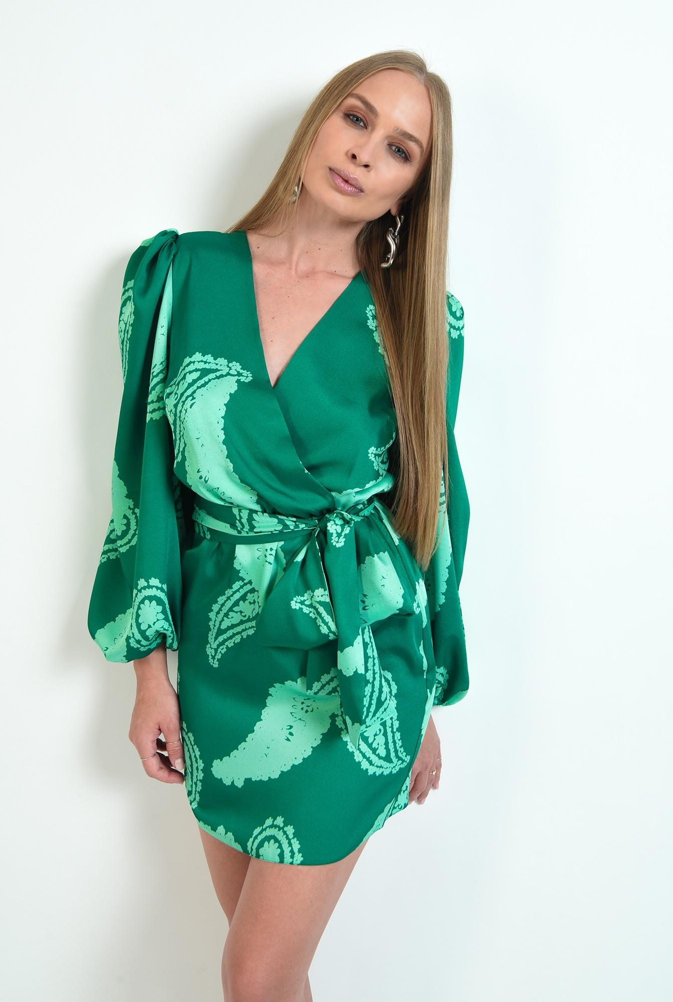 1 - rochie cu print, scurta, cu cordon, cu maneca lunga