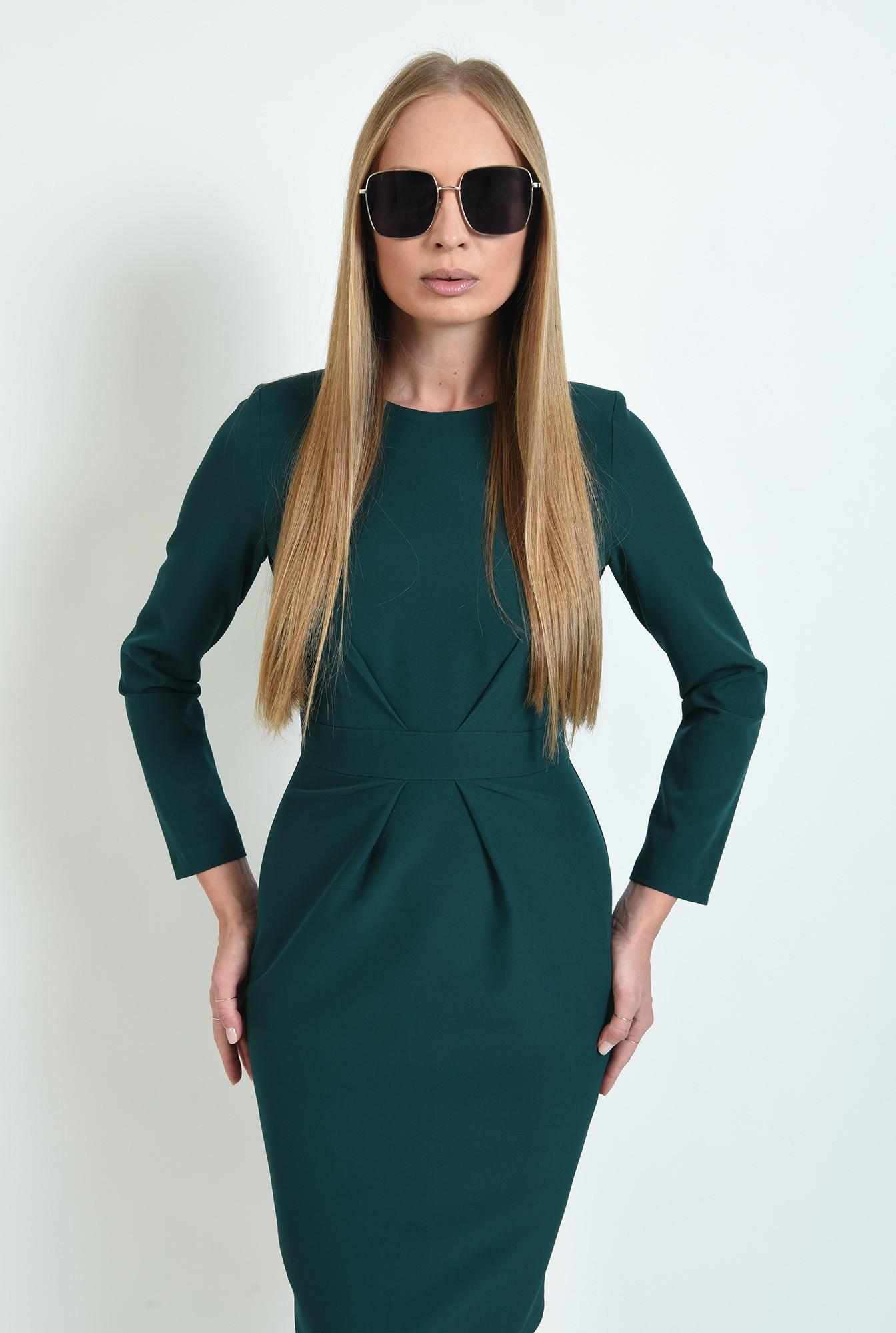 1 - rochie verde, office, cu pliuri, Poema