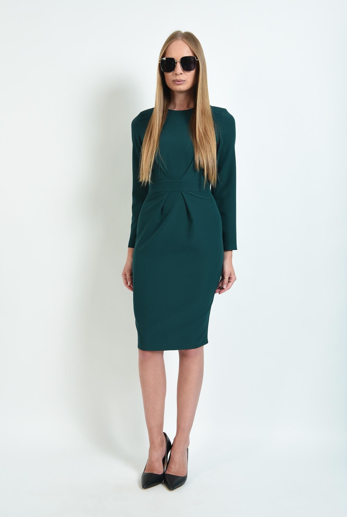 0 - rochie verde, office, cu pliuri, Poema