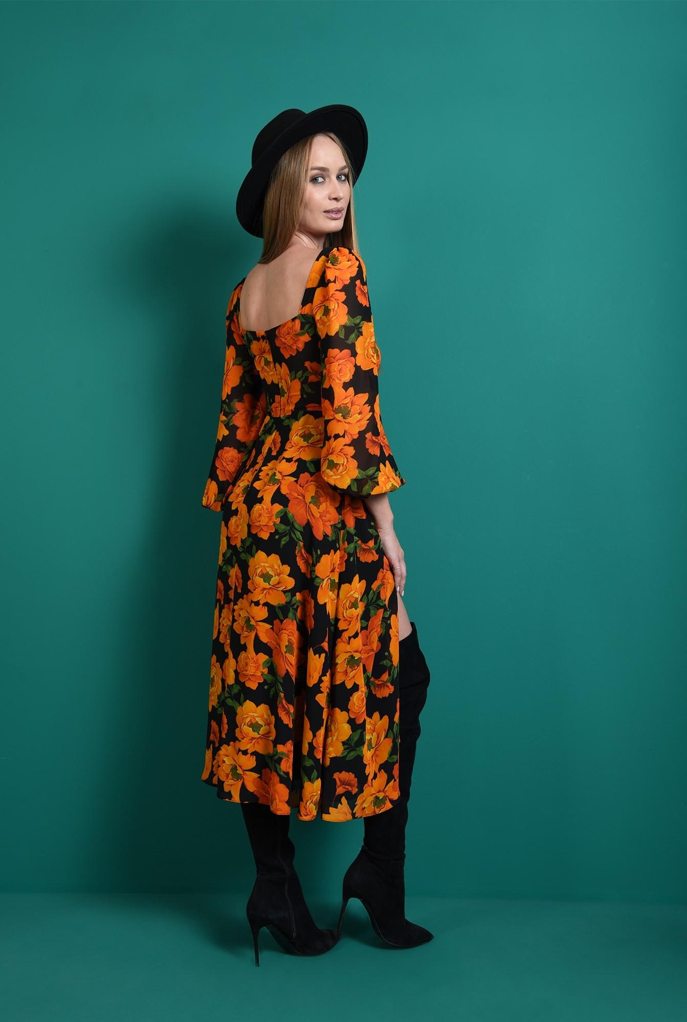 1 - rochie florala, cu bust fronsat, cu accesoriu