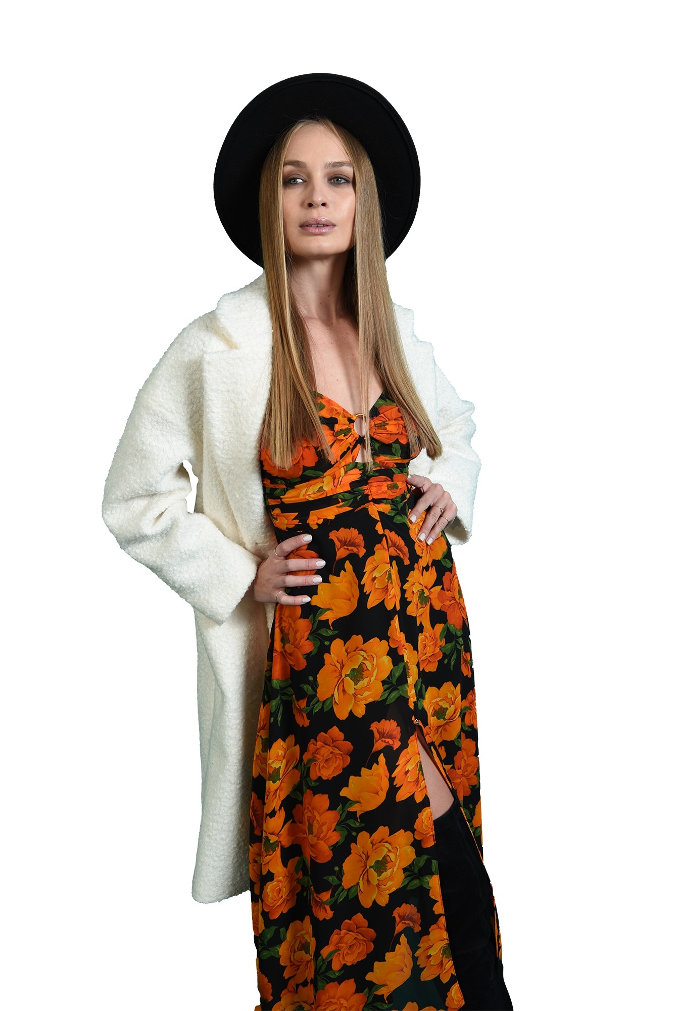 3 - rochie florala, cu bust fronsat, cu accesoriu