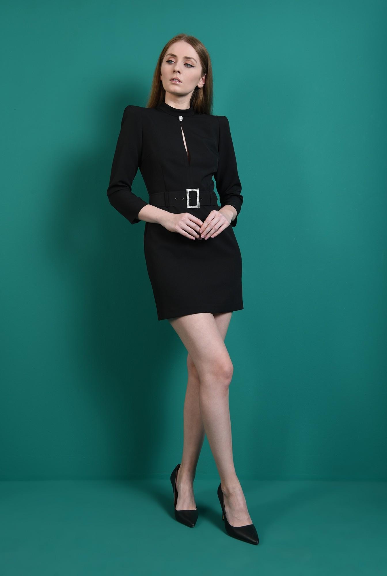 1 - rochie eleganta, neagra, cu centura din strasuri