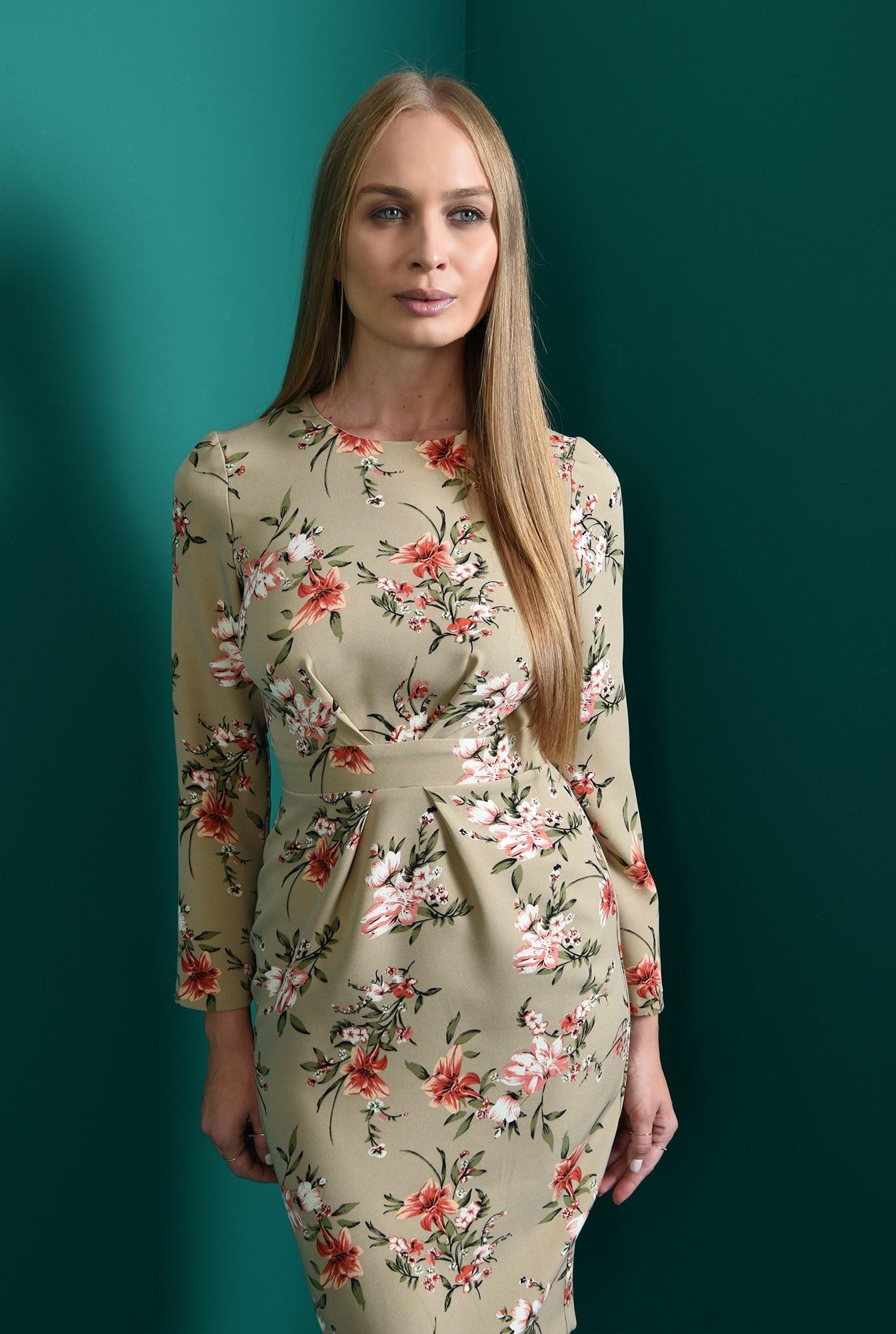 2 - rochie midi, conica, cu print floral, Poema