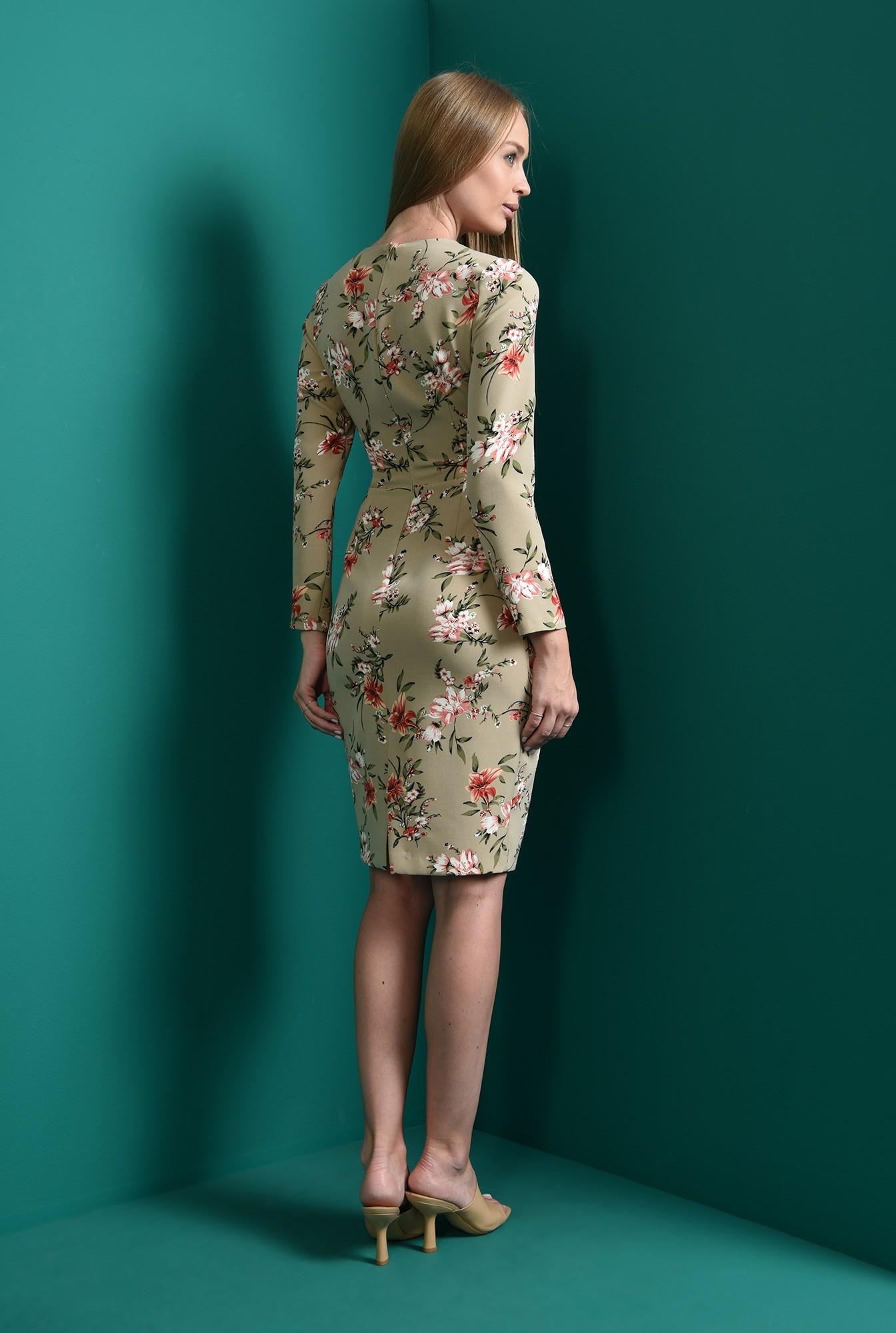 1 - rochie midi, conica, cu print floral, Poema