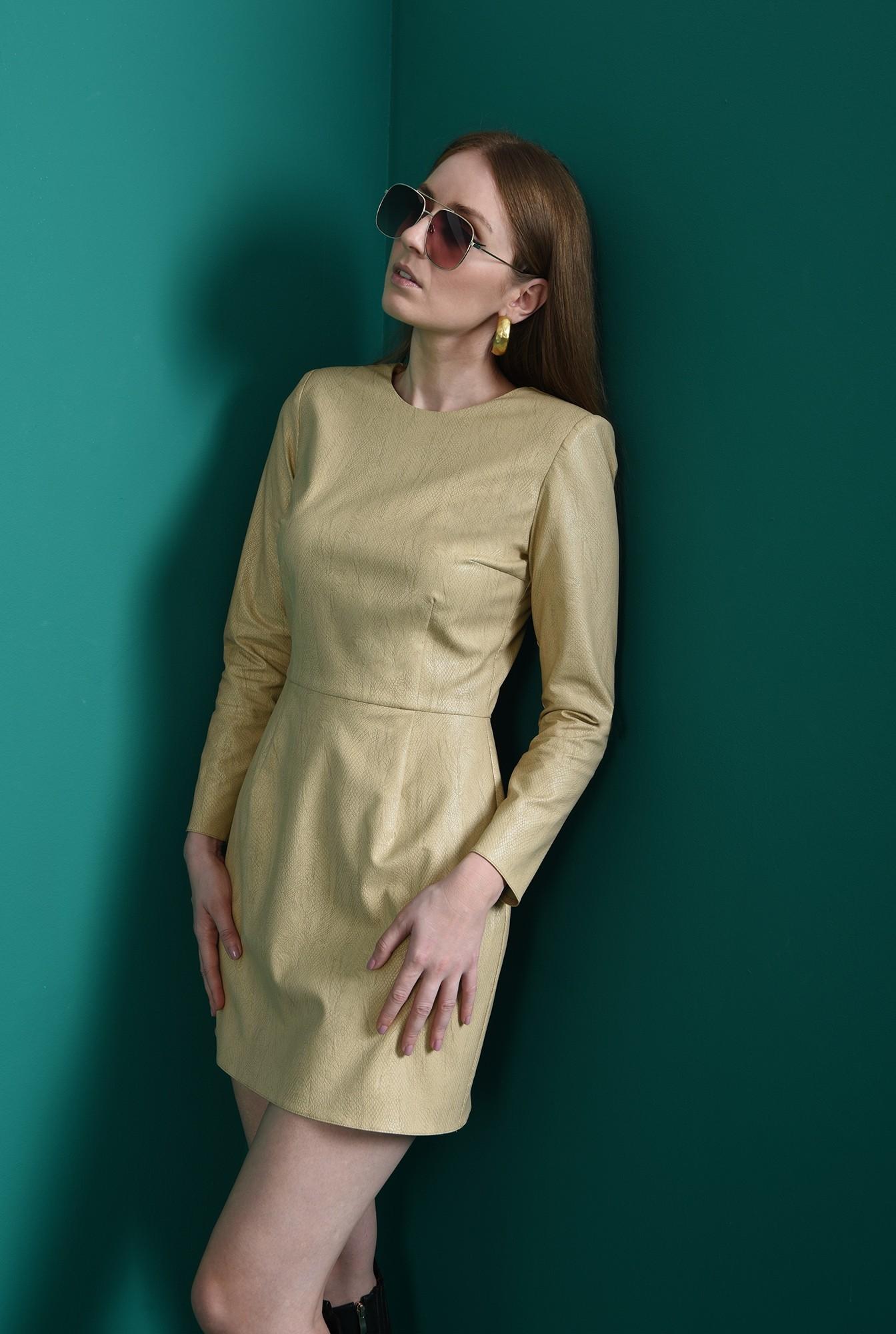 2 - rochie crem, casual, scurta, animal print