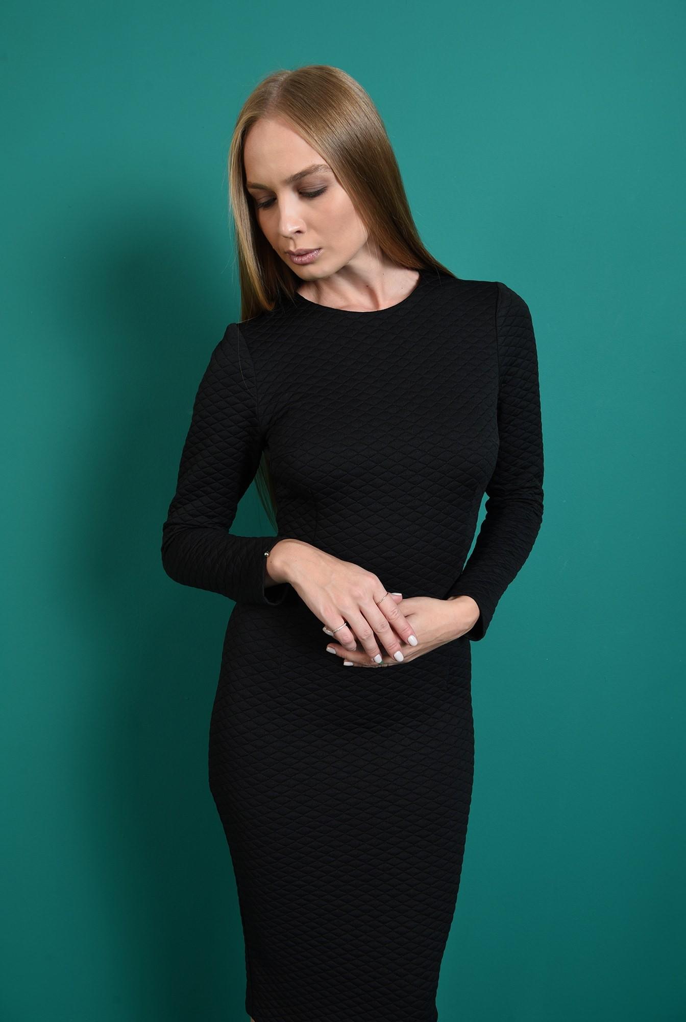 2 - rochie office, neagra, cu maneca lunga, Poema