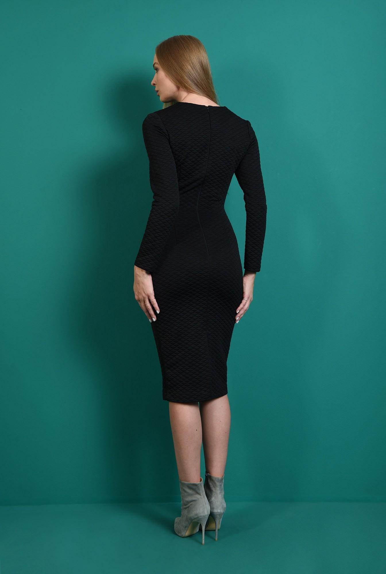 1 - rochie office, neagra, cu maneca lunga, Poema