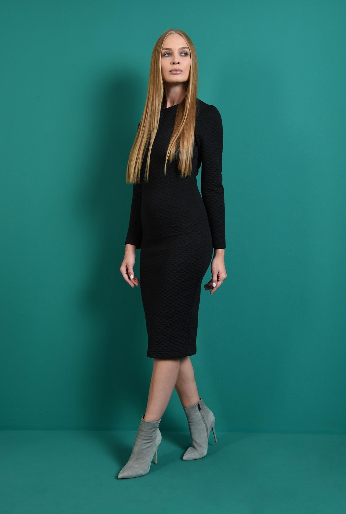 0 - rochie office, neagra, cu maneca lunga, Poema