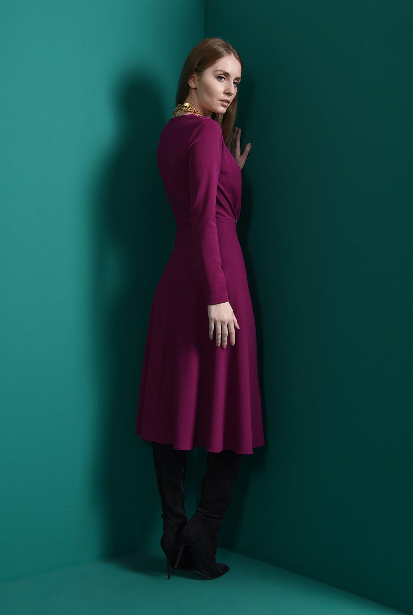 2 - rochie magenta, casual, cu pliuri, Poema