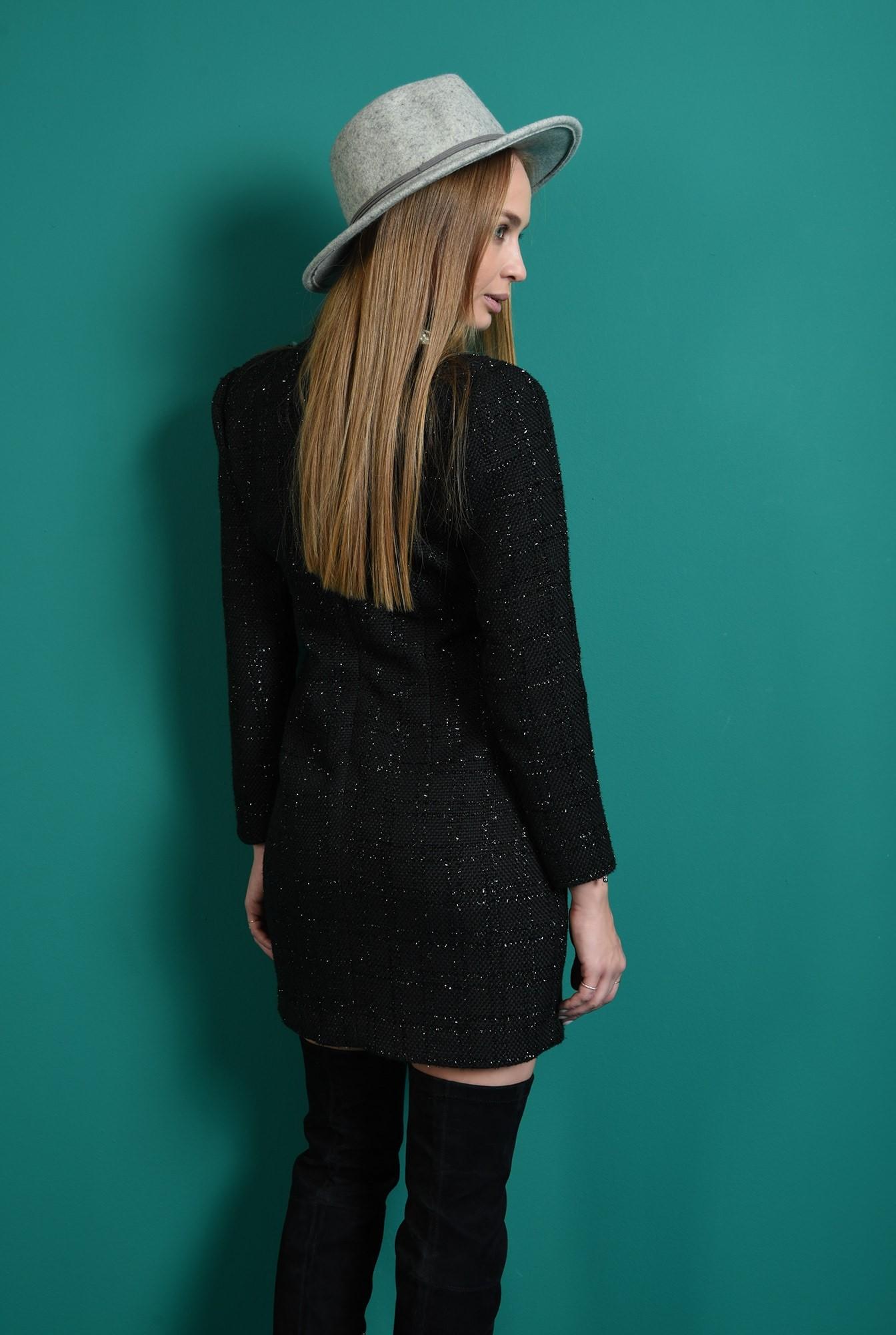 2 - rochie neagra, cu fir argintiu, cu maneca lunga
