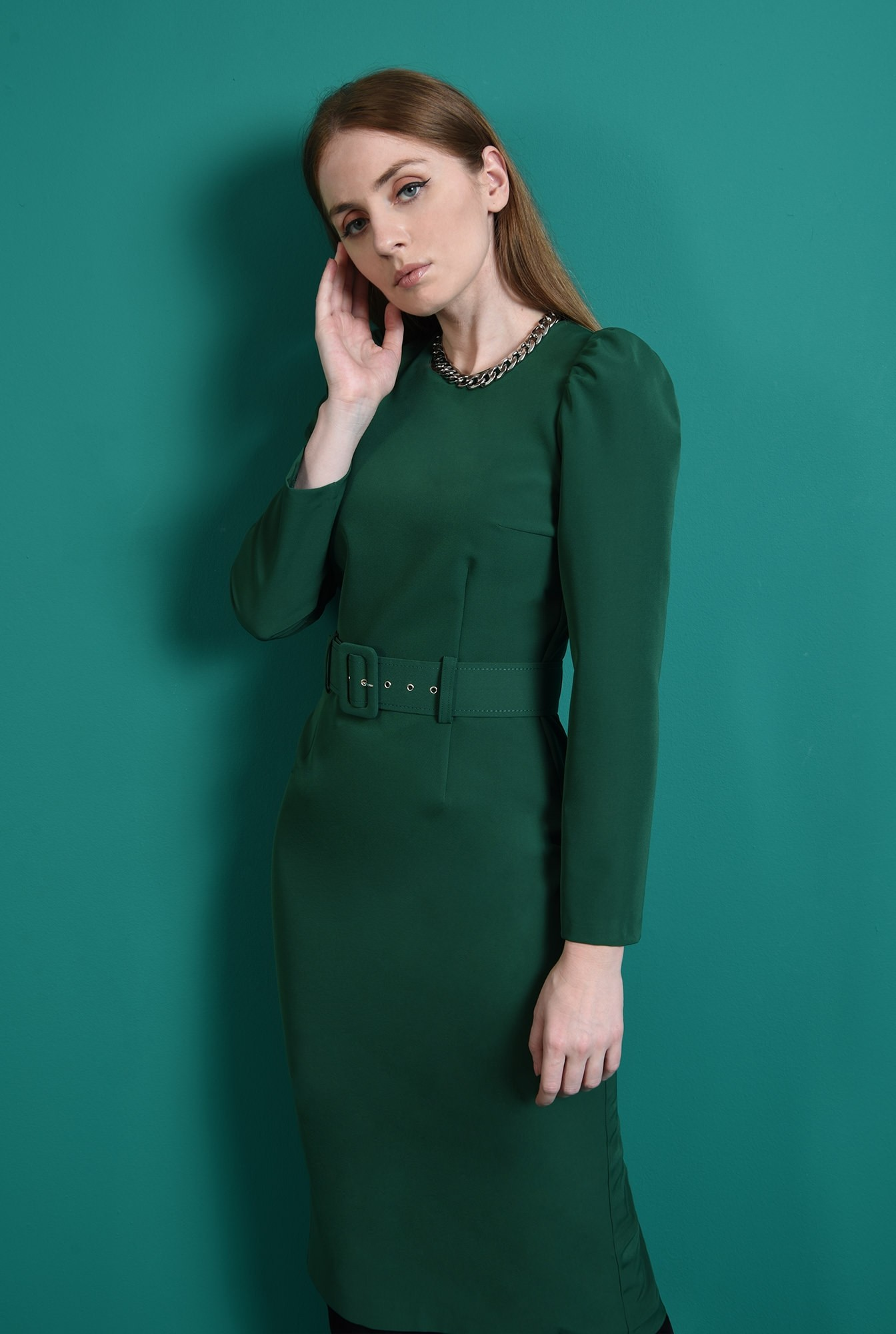 1 - rochie verde, office, cu maneca lunga