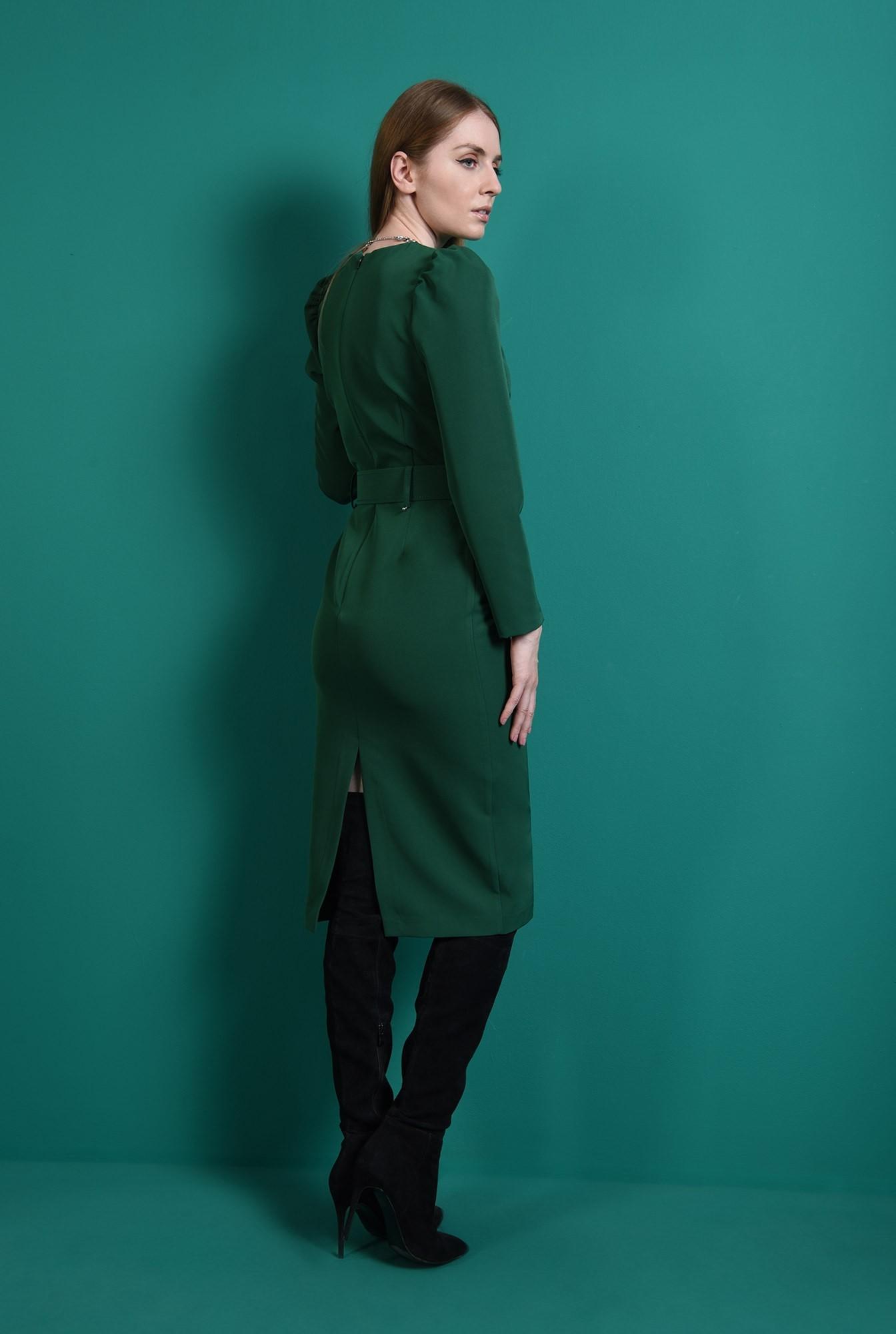 2 - rochie verde, office, cu maneca lunga