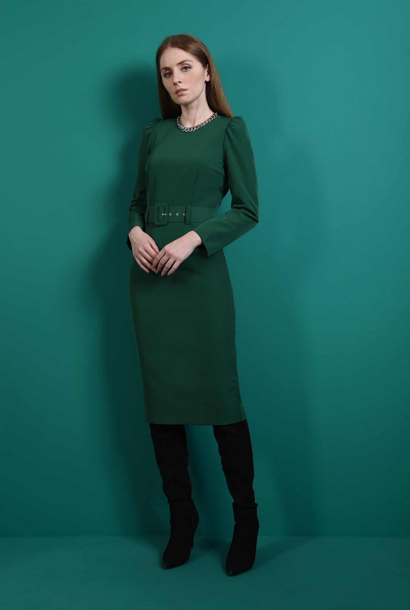 0 - rochie verde, office, cu maneca lunga