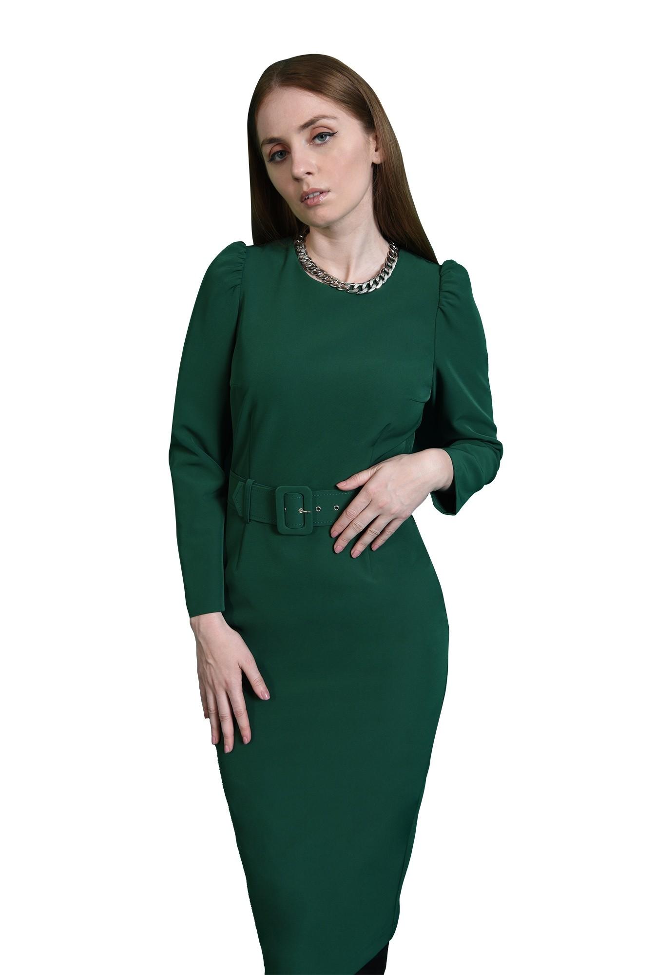 3 - rochie verde, office, cu maneca lunga