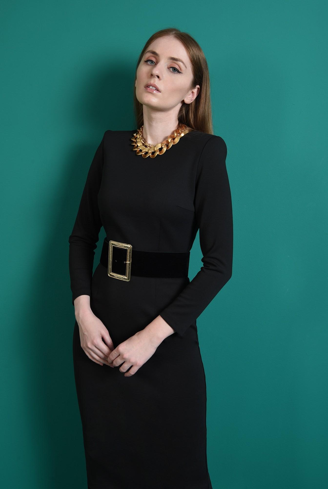 2 - rochie neagra, office, cu decolteu rotund