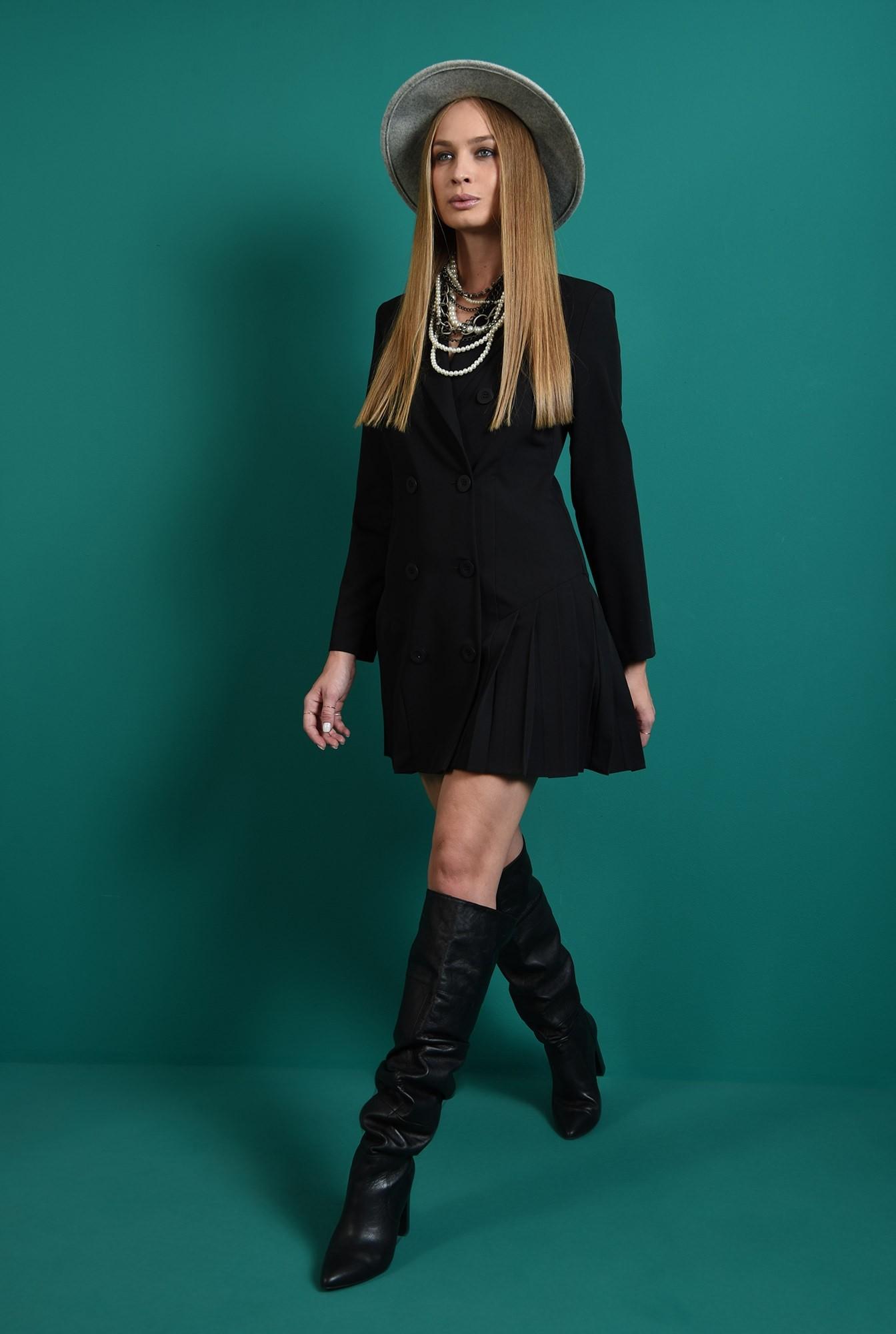 1 - rochie scurta, neagra, casual, cu pliseuri